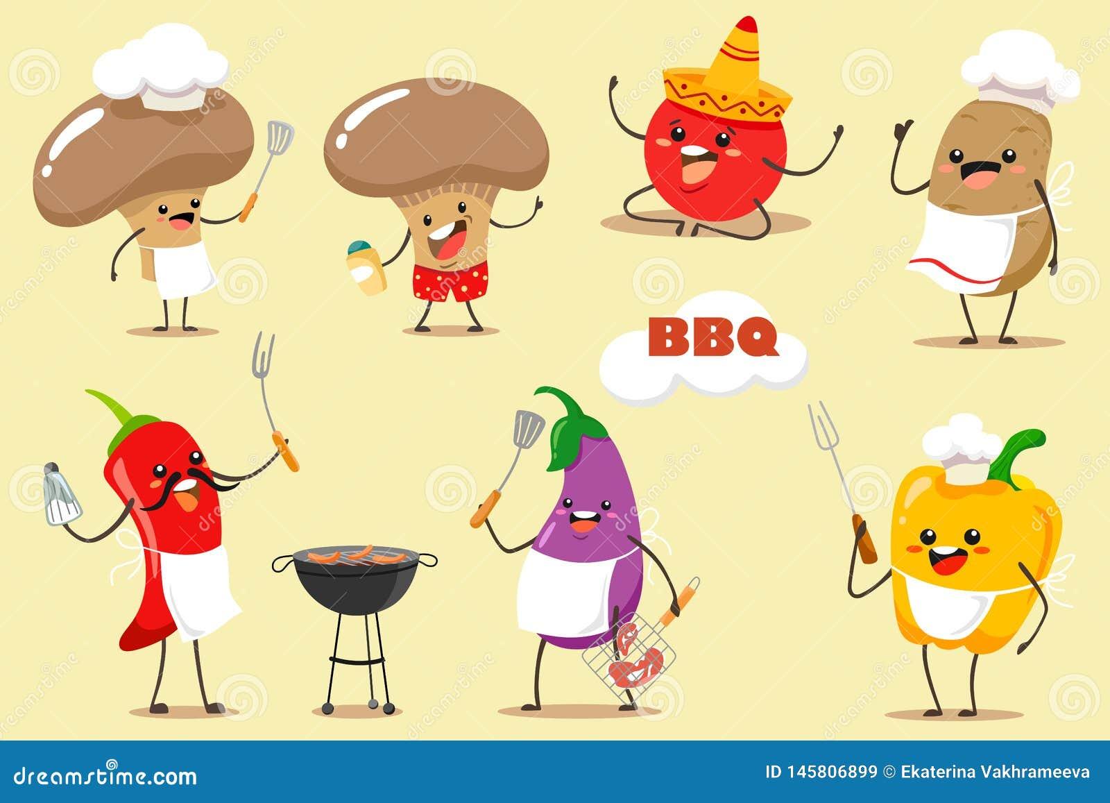 Uppsättning för grillfestgrönsakvektor för bbq-parti och picknick Roliga och tecknad filmgrönsaker chili, champinjoner, aubergine