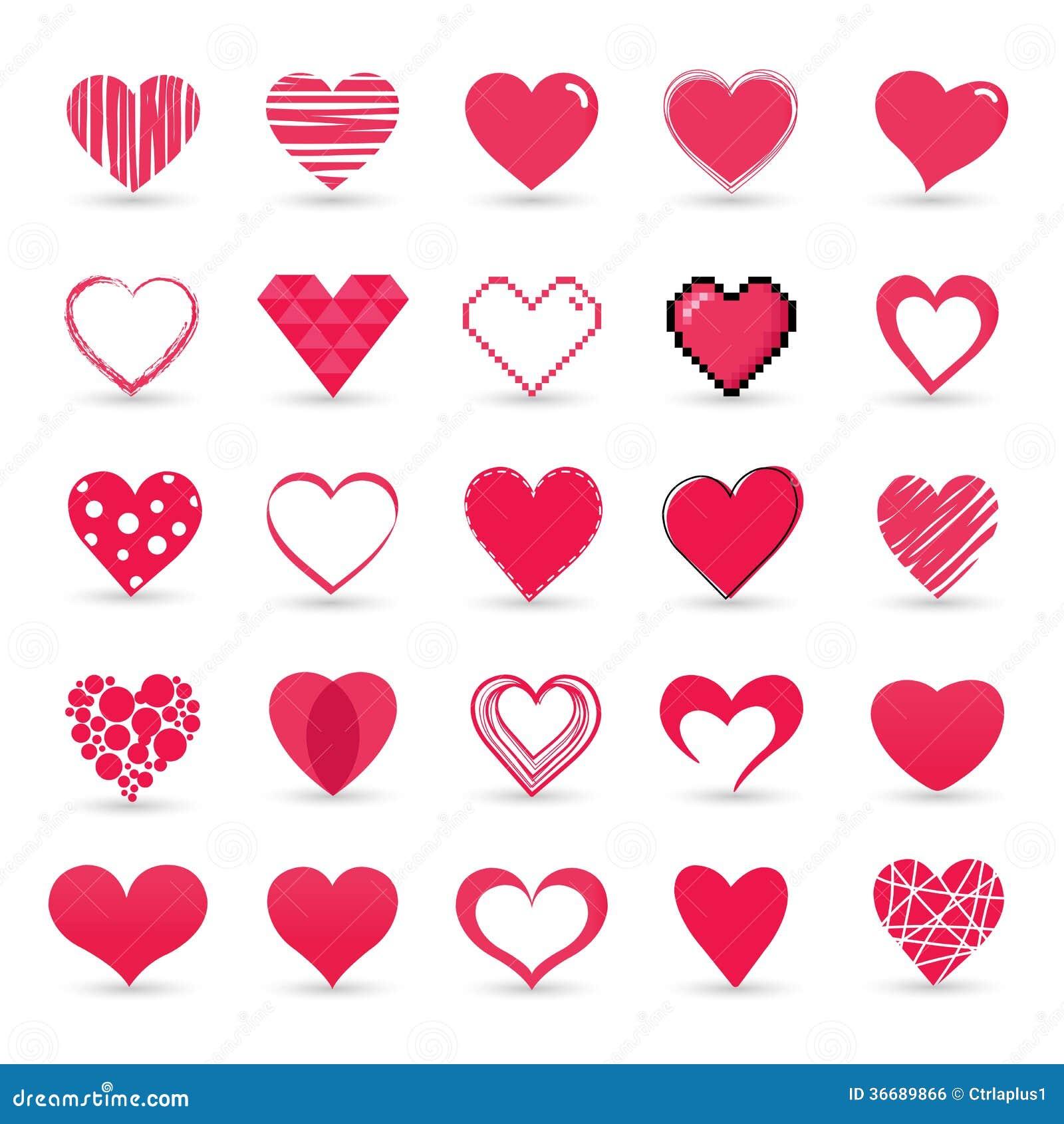 Uppsättning för hjärtavalentinsymbol