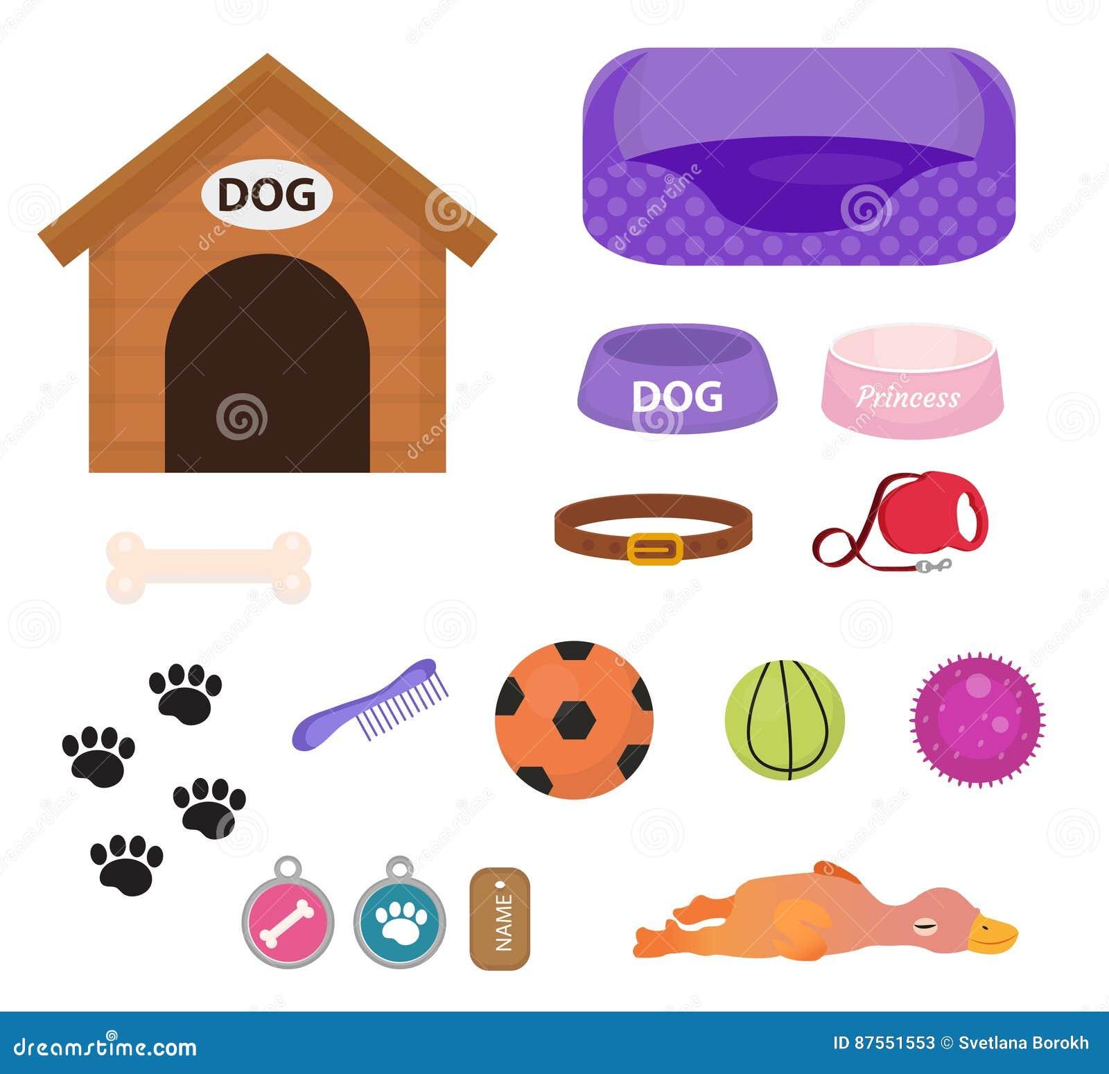 Uppsättning för hundkapplöpningmaterialsymbol med tillbehör för husdjur, lägenhetstil, på vit bakgrund Valpleksak Hundkoja krage