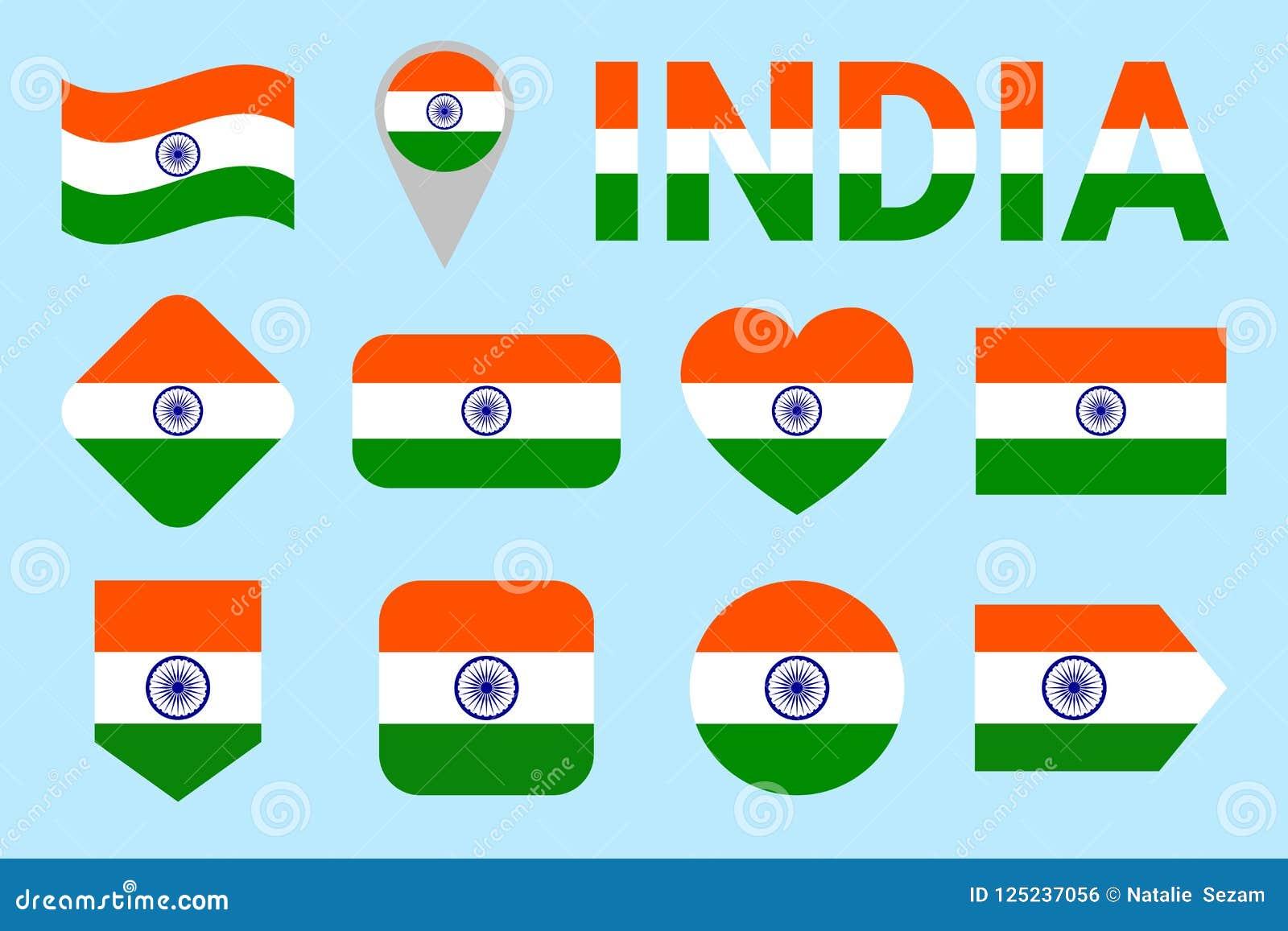 Uppsättning för Indien flaggavektor Geomatric former Plan stil Indiern sjunker samlingen Rengöringsduk sportsidor, medborgare, lo
