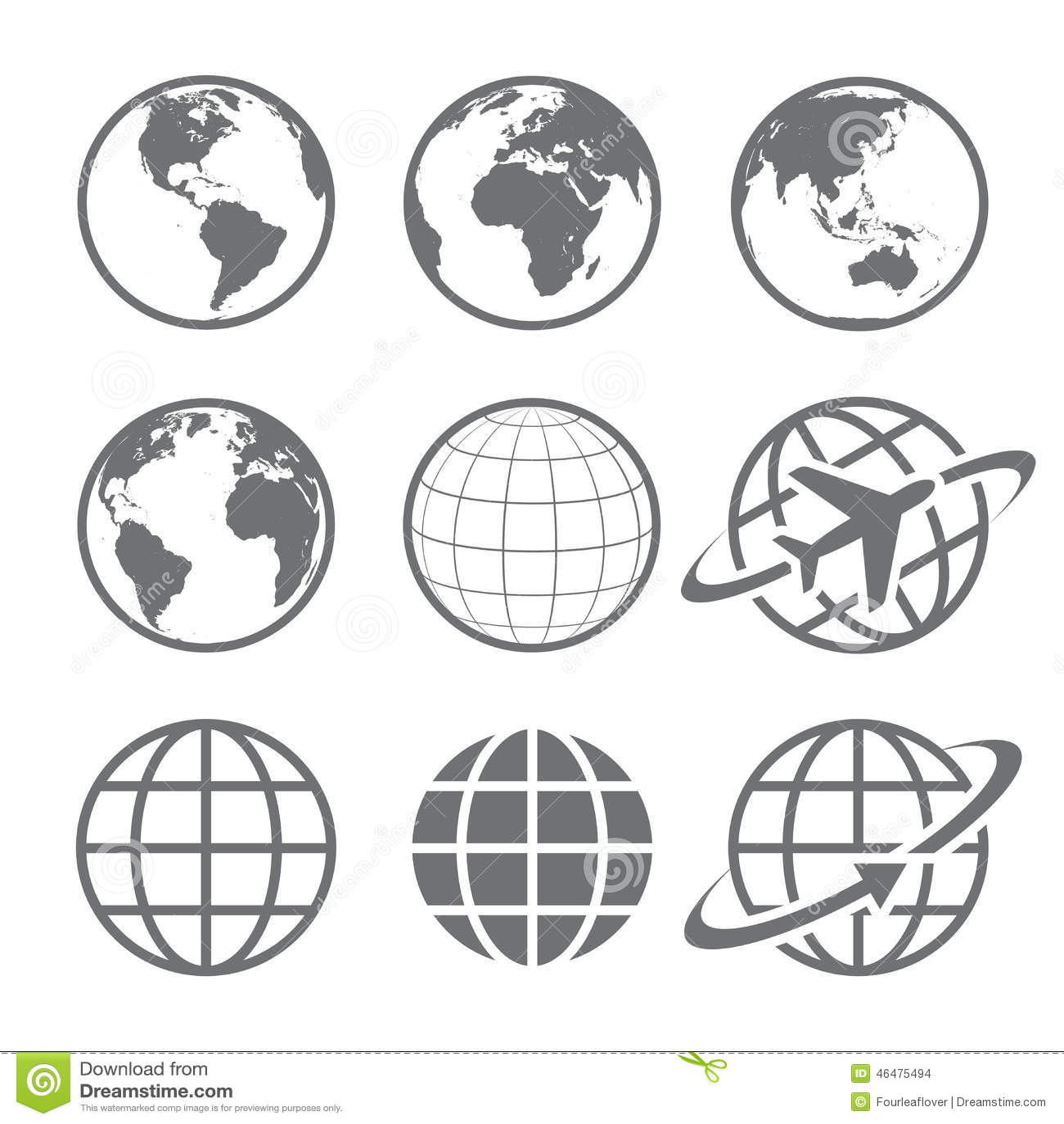 Uppsättning för jordjordklotsymbol