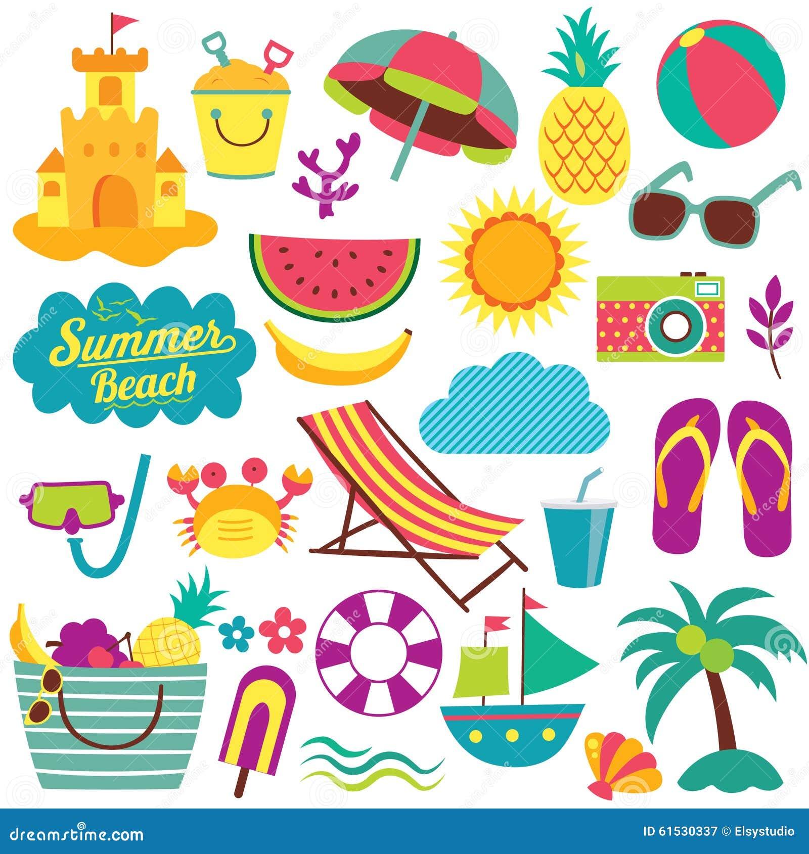 Uppsättning för konst för gem för beståndsdelar för sommardag