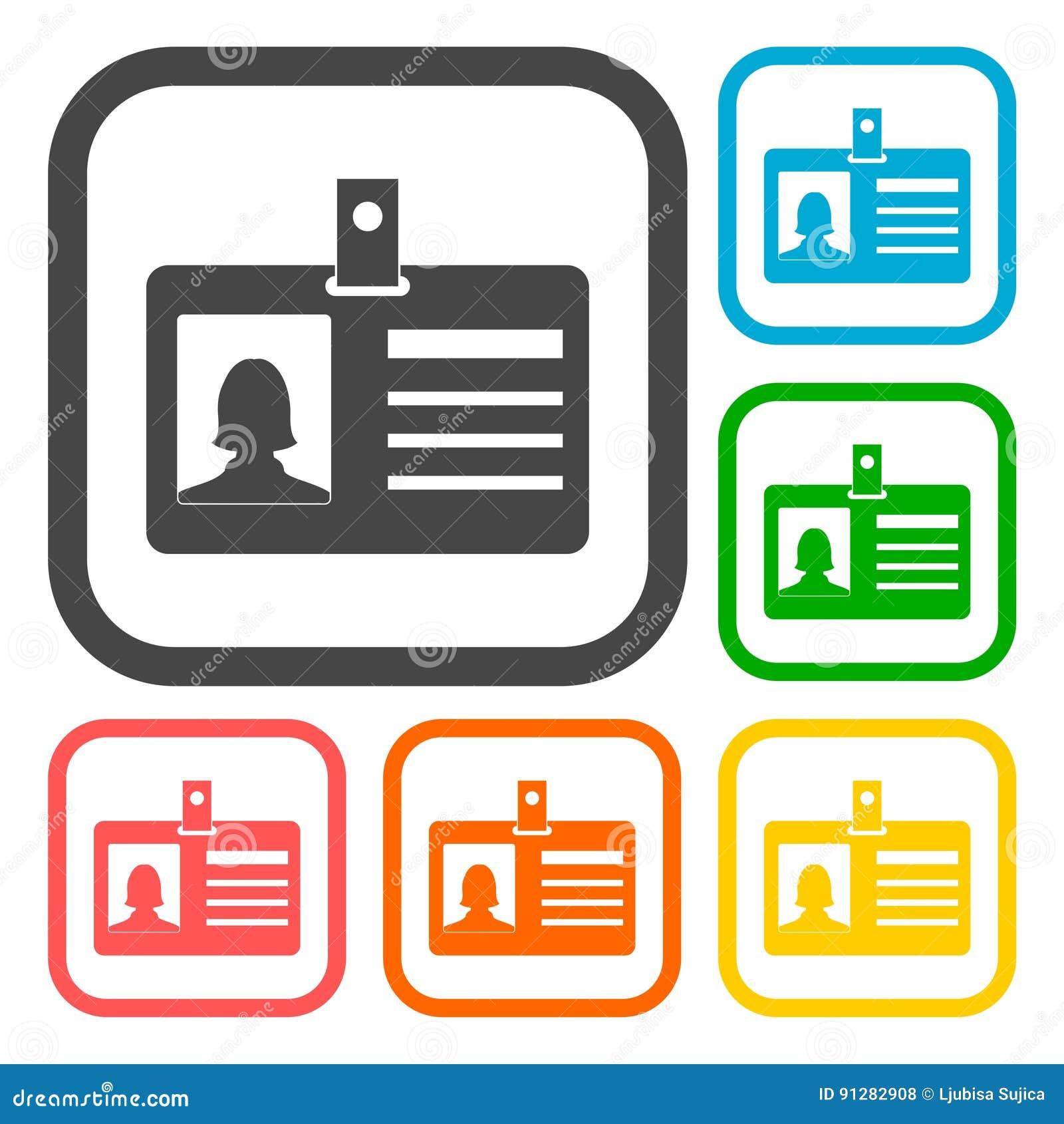 Uppsättning för legitimationkortsymboler med lång skugga