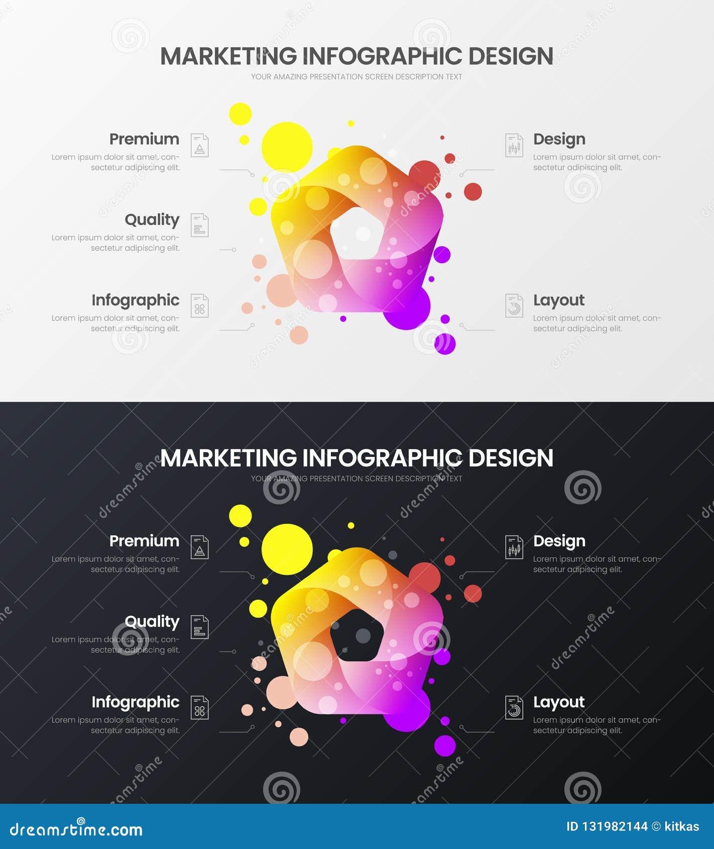 Uppsättning för mall för illustration för vektor för 5 alternativmarknadsföringsanalytics Orientering för affärsdatadesign Infogr
