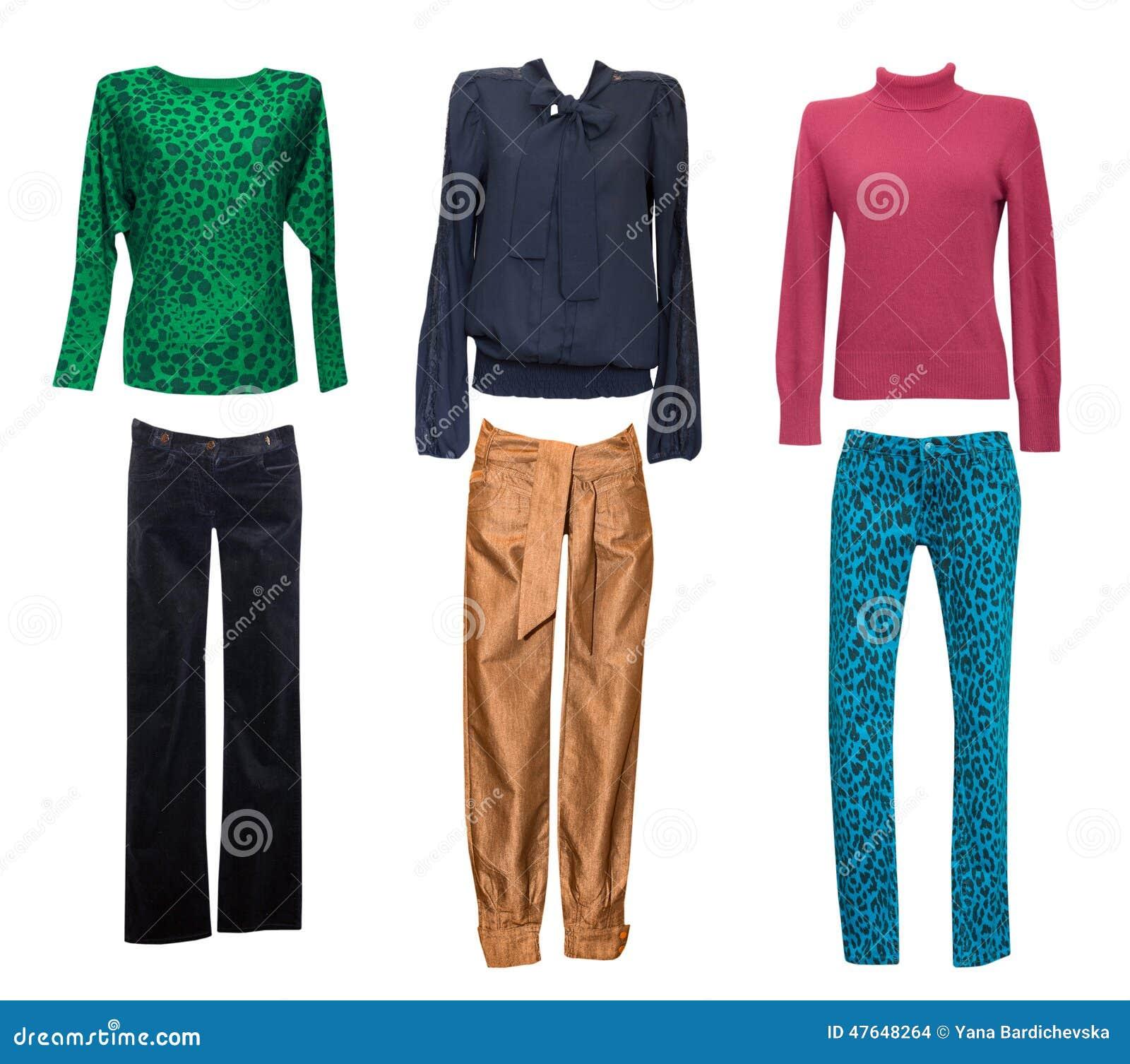 Uppsättning för modekvinnligkläder Kvinnan beklär isolerad collage