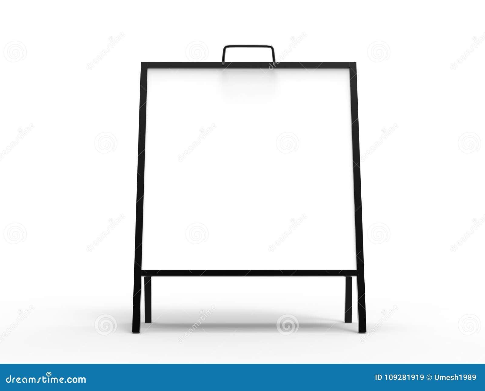 Uppsättning för modell för ställning för utomhus- advertizing för tom ram för vit fyrkant som A metallisk isoleras, tolkning 3d K