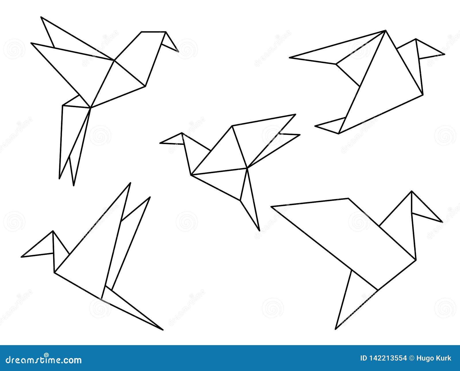 Uppsättning för origamifågelvektor