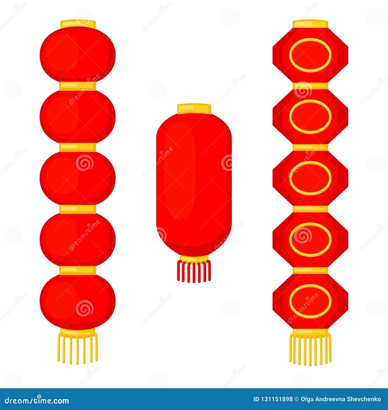 Uppsättning för pappers- lykta för tecknad film röd kinesisk