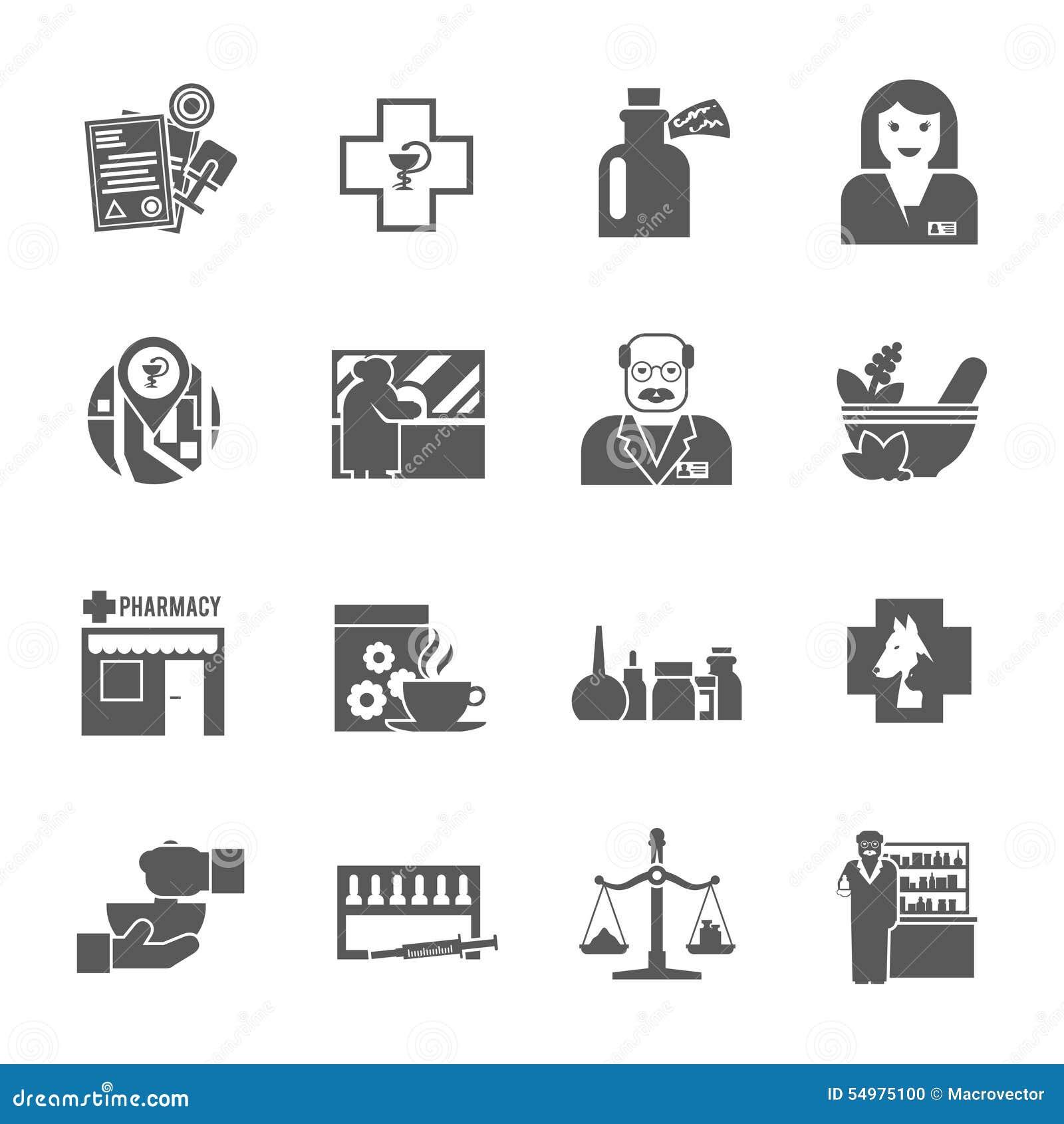 Uppsättning för Pharmacicst svartsymboler