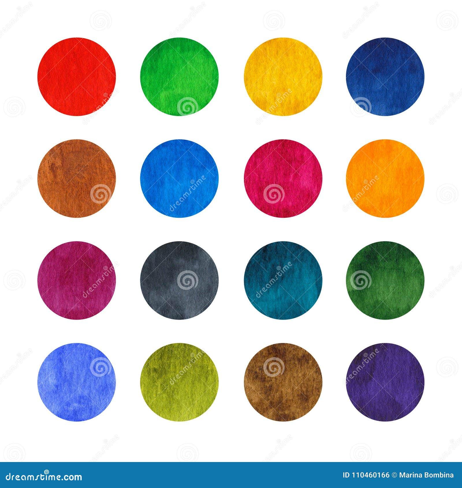 Uppsättning för regnbågevattenfärgcirklar som isoleras på vit bakgrund