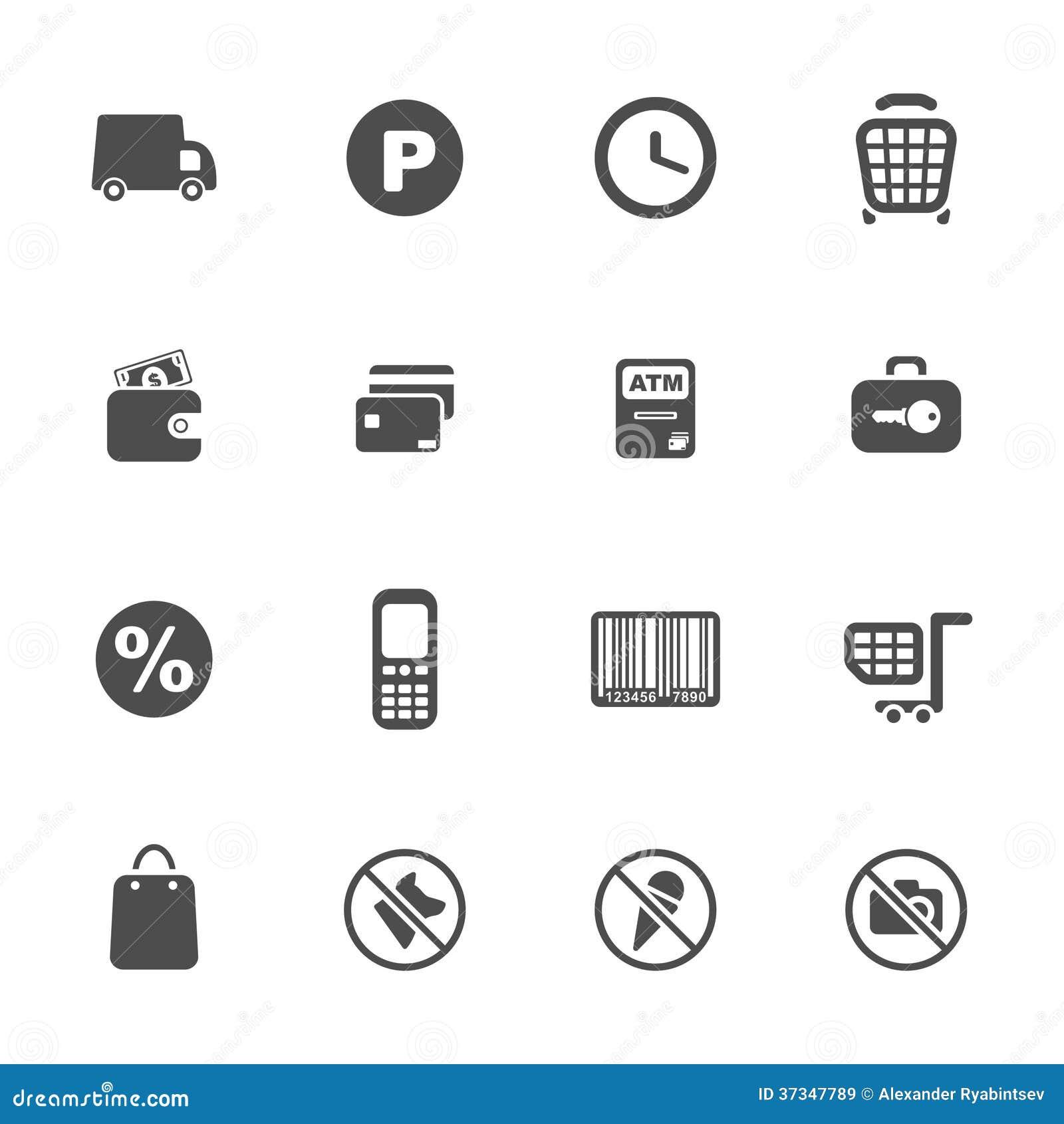 Uppsättning för shoppingtemasymbol