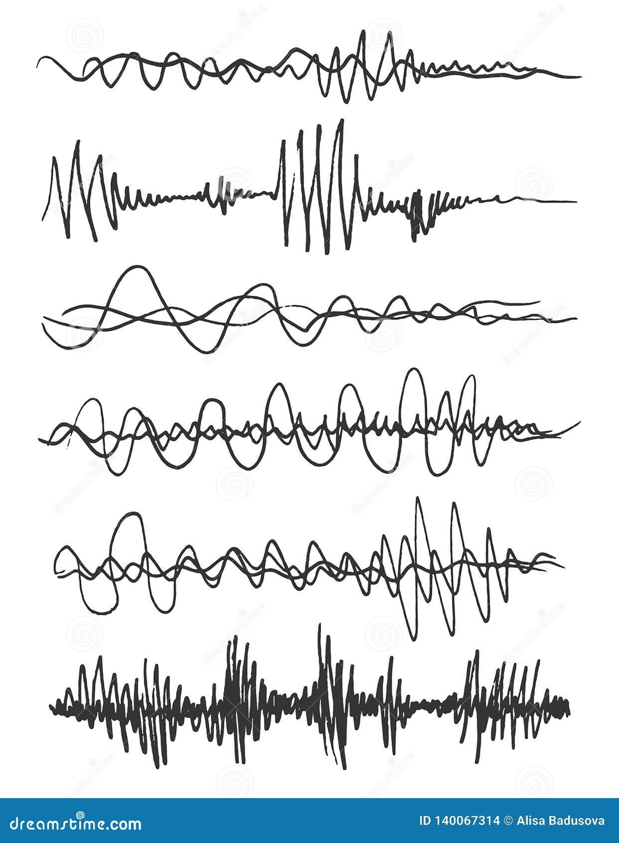 Uppsättning för solida vågor för vektor Ljudsignal spelare Ljudsignal utjämnareteknologi, pulsmusikal också vektor för coreldrawi