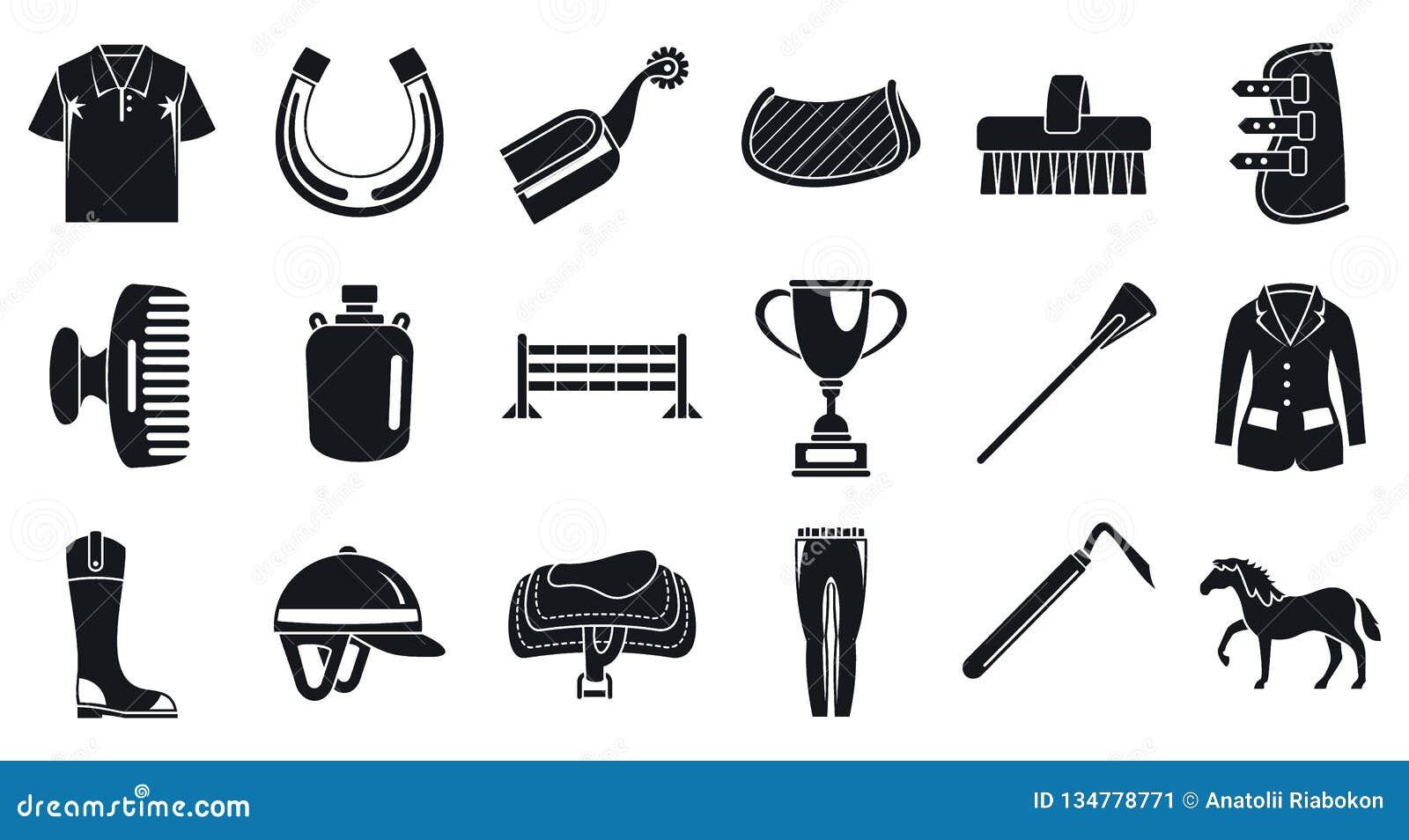 Uppsättning för symbol för aktivitet för hästryggridning, enkel stil