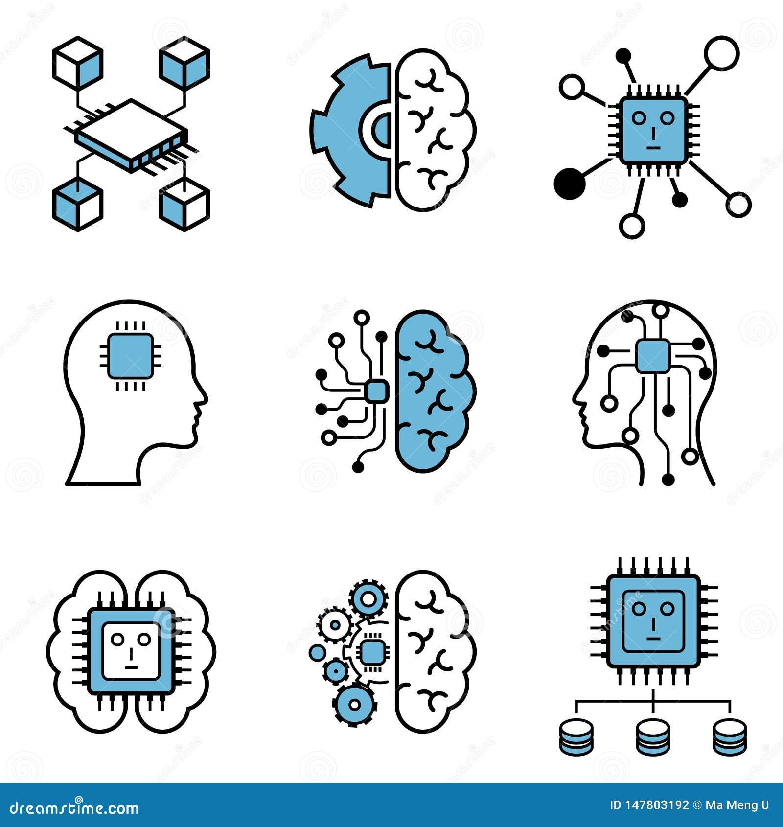 Uppsättning för symbol för design för vektor för lära för dator & för konstgjord intelligens
