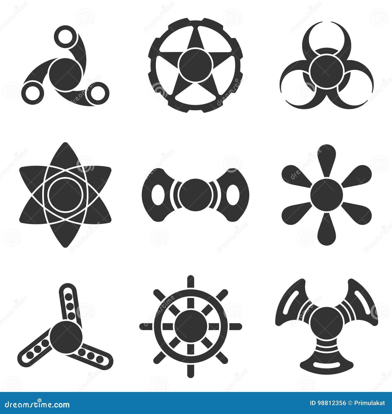 Uppsättning för symbol för form för vektor för handrastlös människaspinnare extra