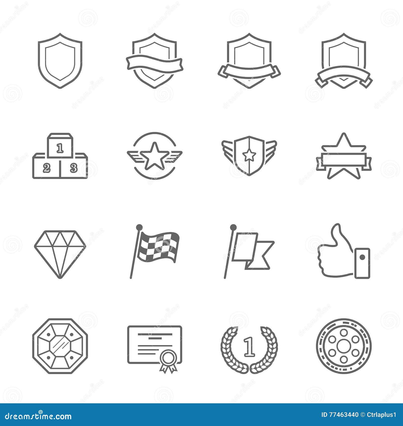 Uppsättning för symbol för slaglängd för översikt för troféutmärkelsevektor