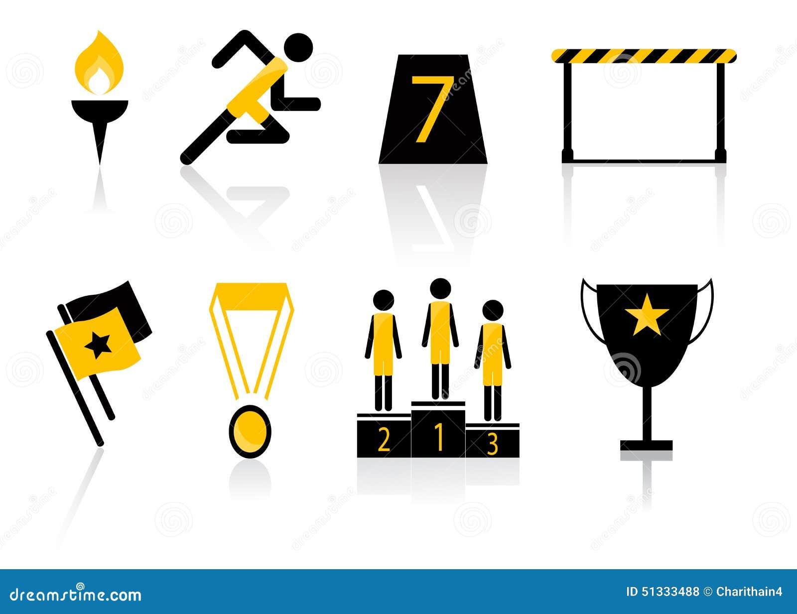 Uppsättning för symbol för sportmöte