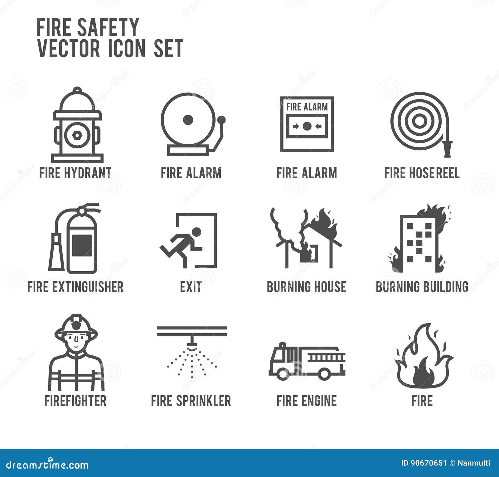 Uppsättning för symbol för vektor för brandsäkerhet