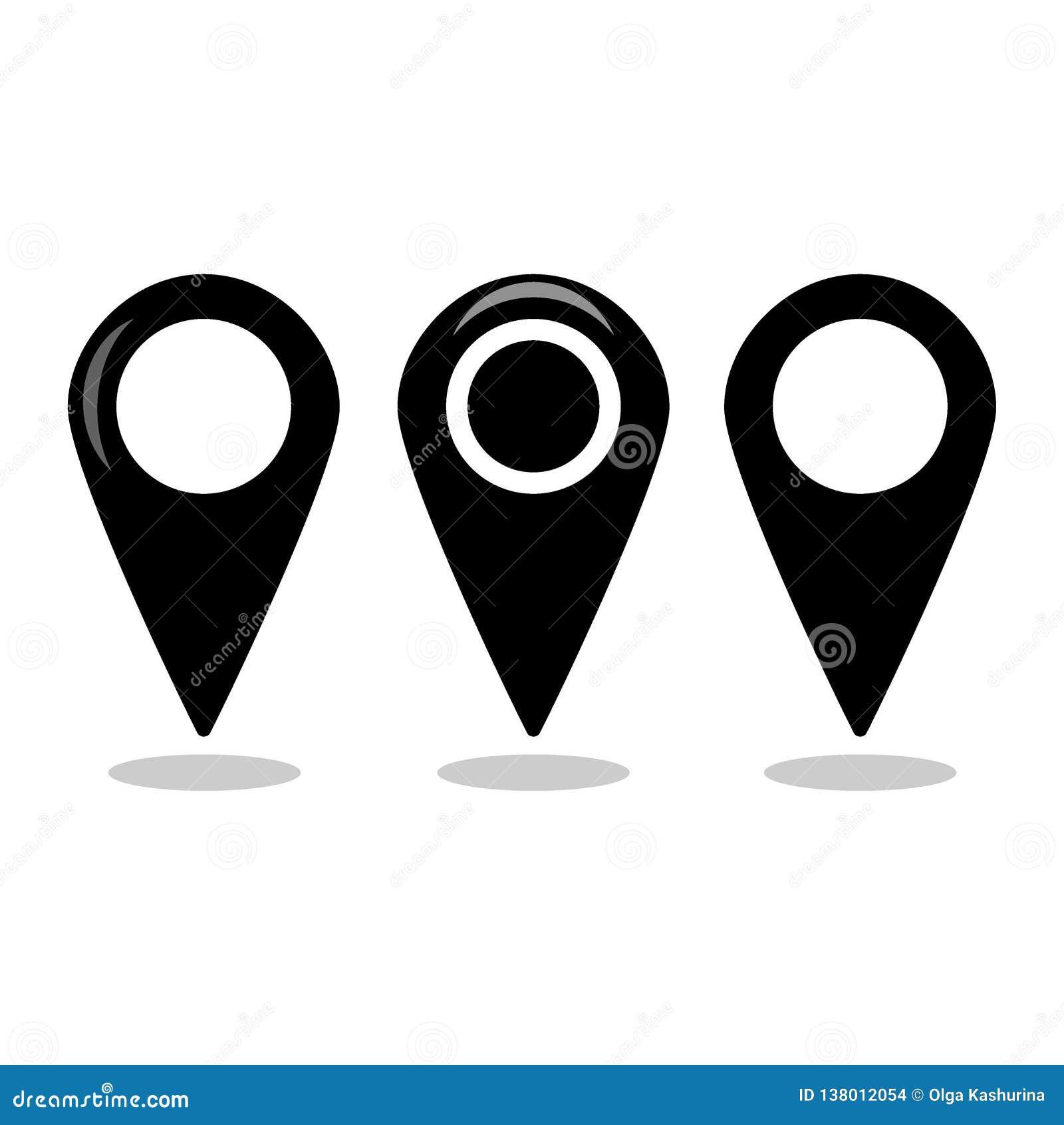 Uppsättning för symbol för lägeöversikt, samling för gps-pekarefläck - vektor