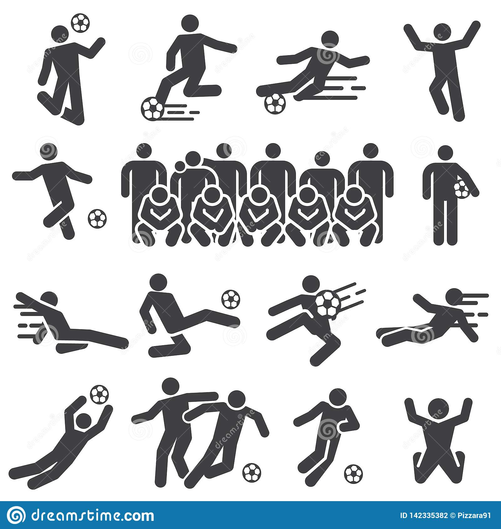 Uppsättning för symbol för spelare för fotbollfotbollsportar