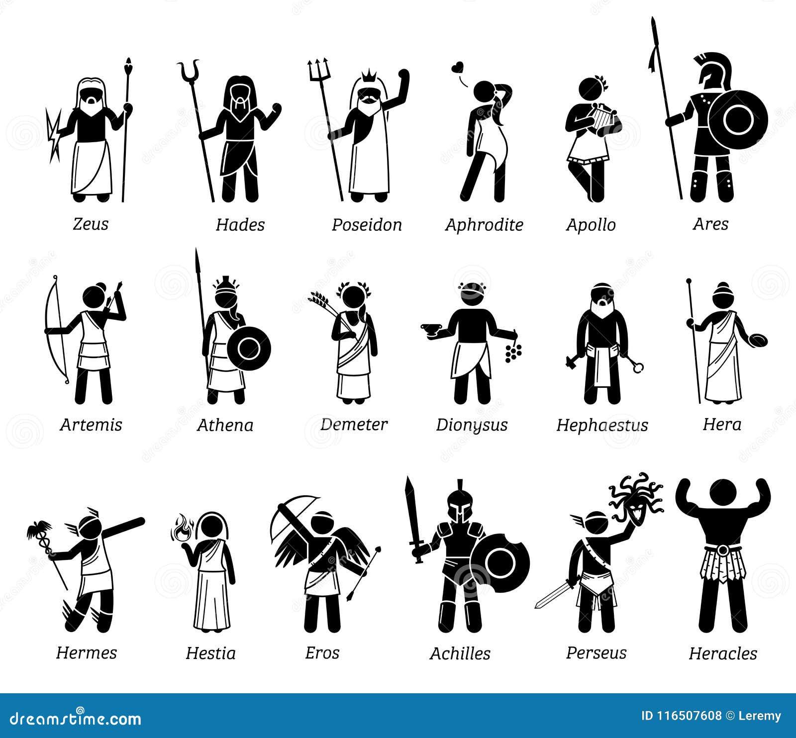 grekiska gudar lista