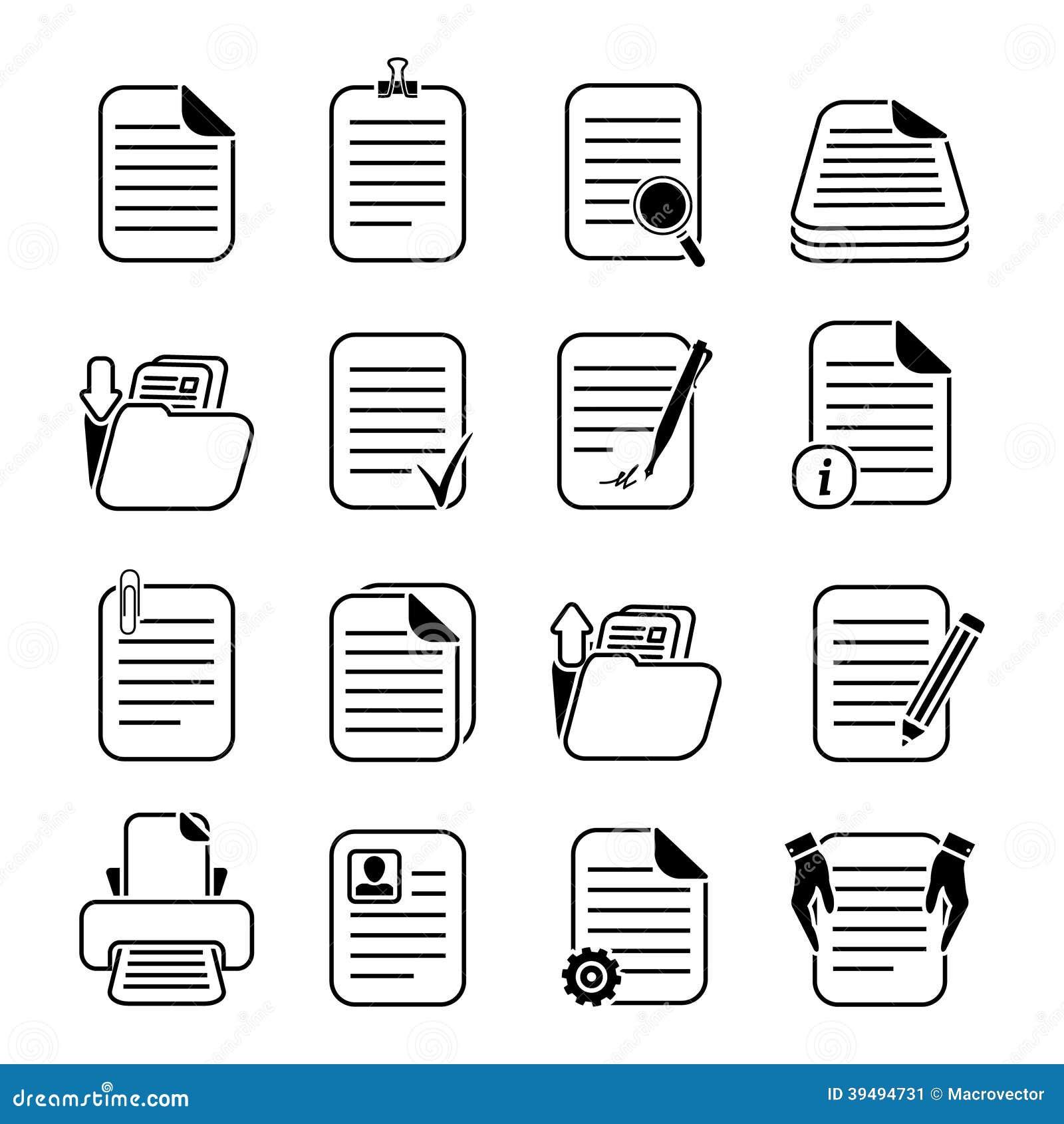Uppsättning för symboler för dokumentmappar och mapp