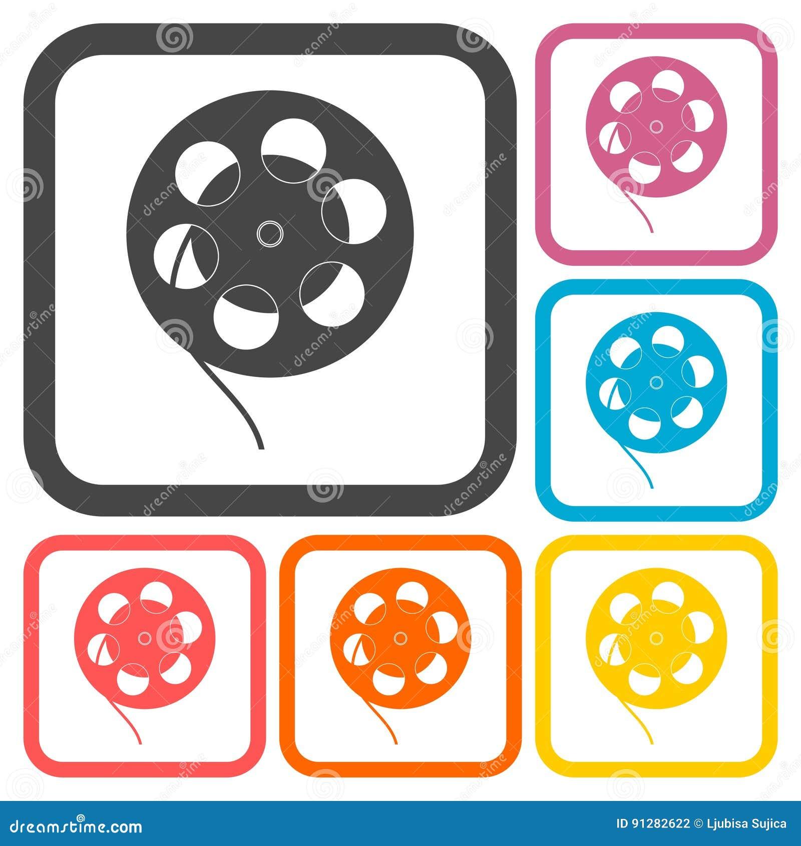 Uppsättning för symboler för filmrulle