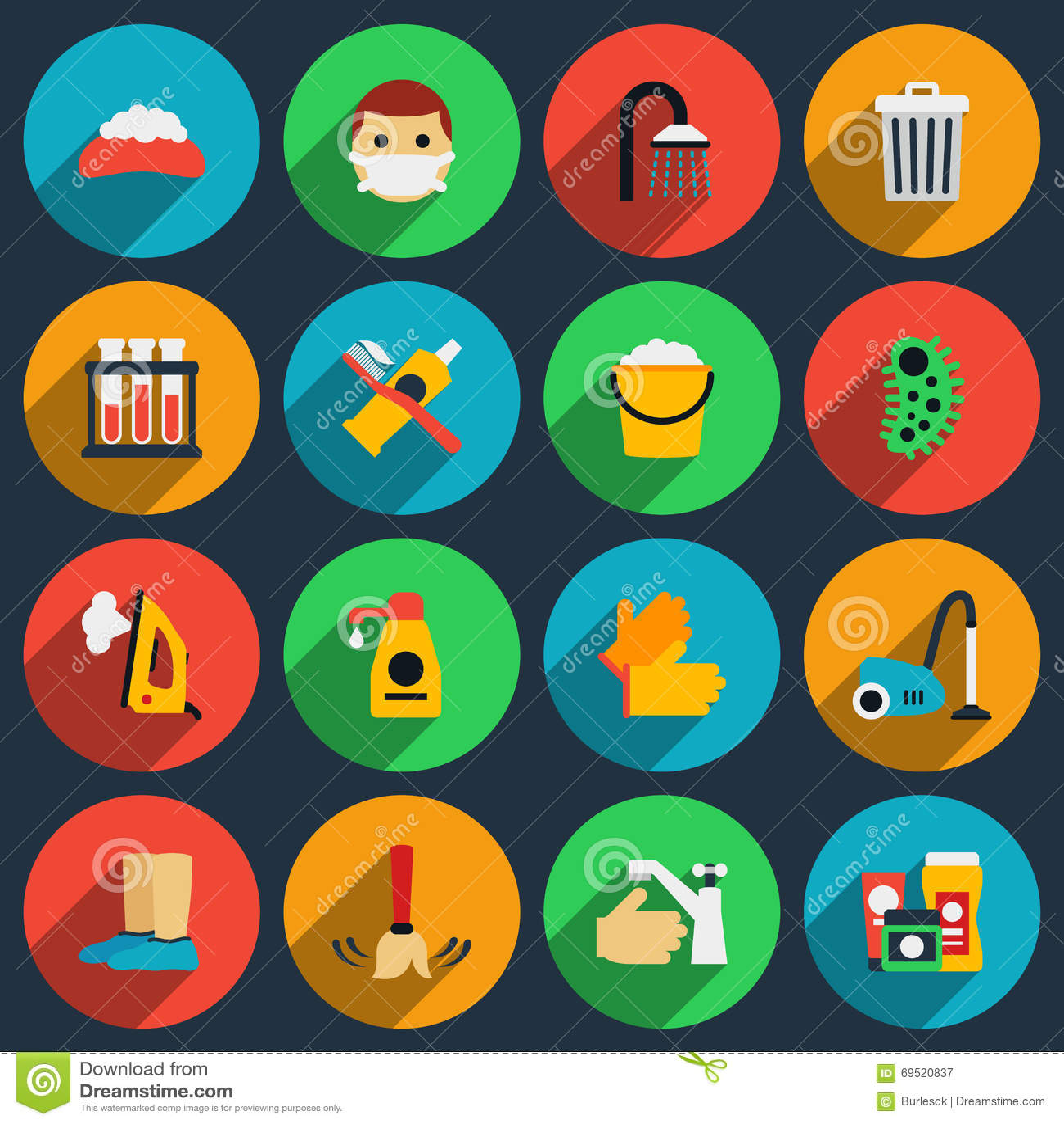 Uppsättning för symboler för hygien- och sanitetsväsenvektorlägenhet