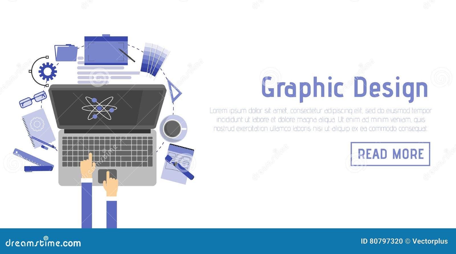 Uppsättning för symboler för illustration för plan designstil modern av objekt och hjälpmedel för grafisk formgivare, olik objekt