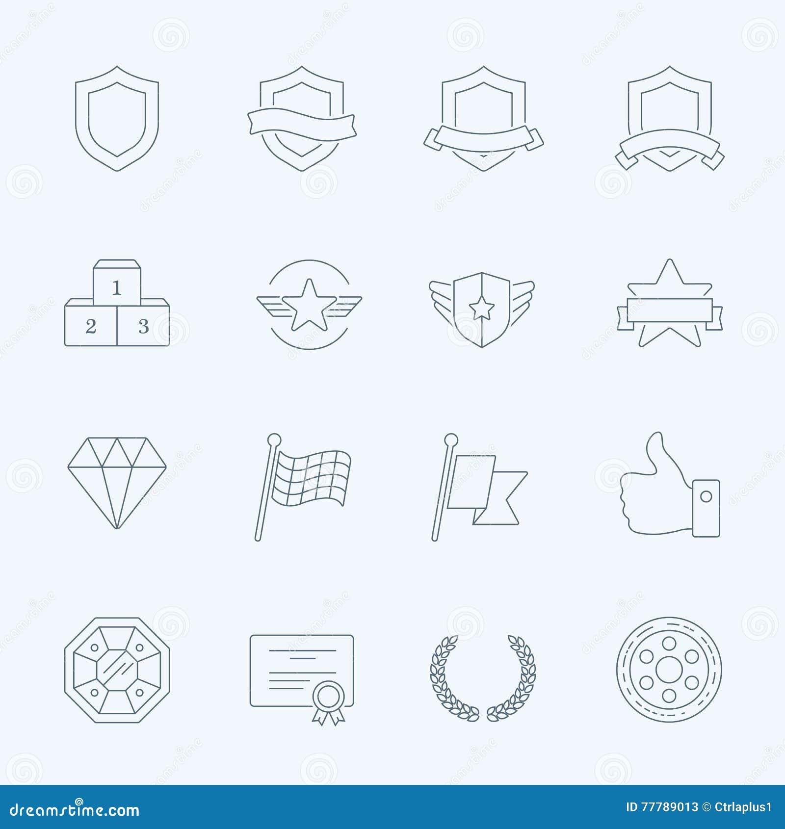 Uppsättning för symboler för slaglängd för översikt för troféutmärkelsevektor