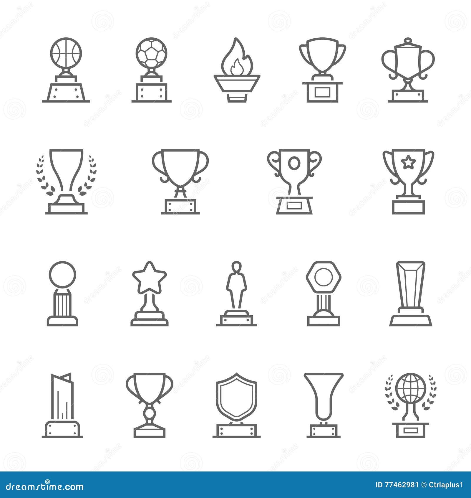 Uppsättning för symboler för slaglängd för troféutmärkelseöversikt