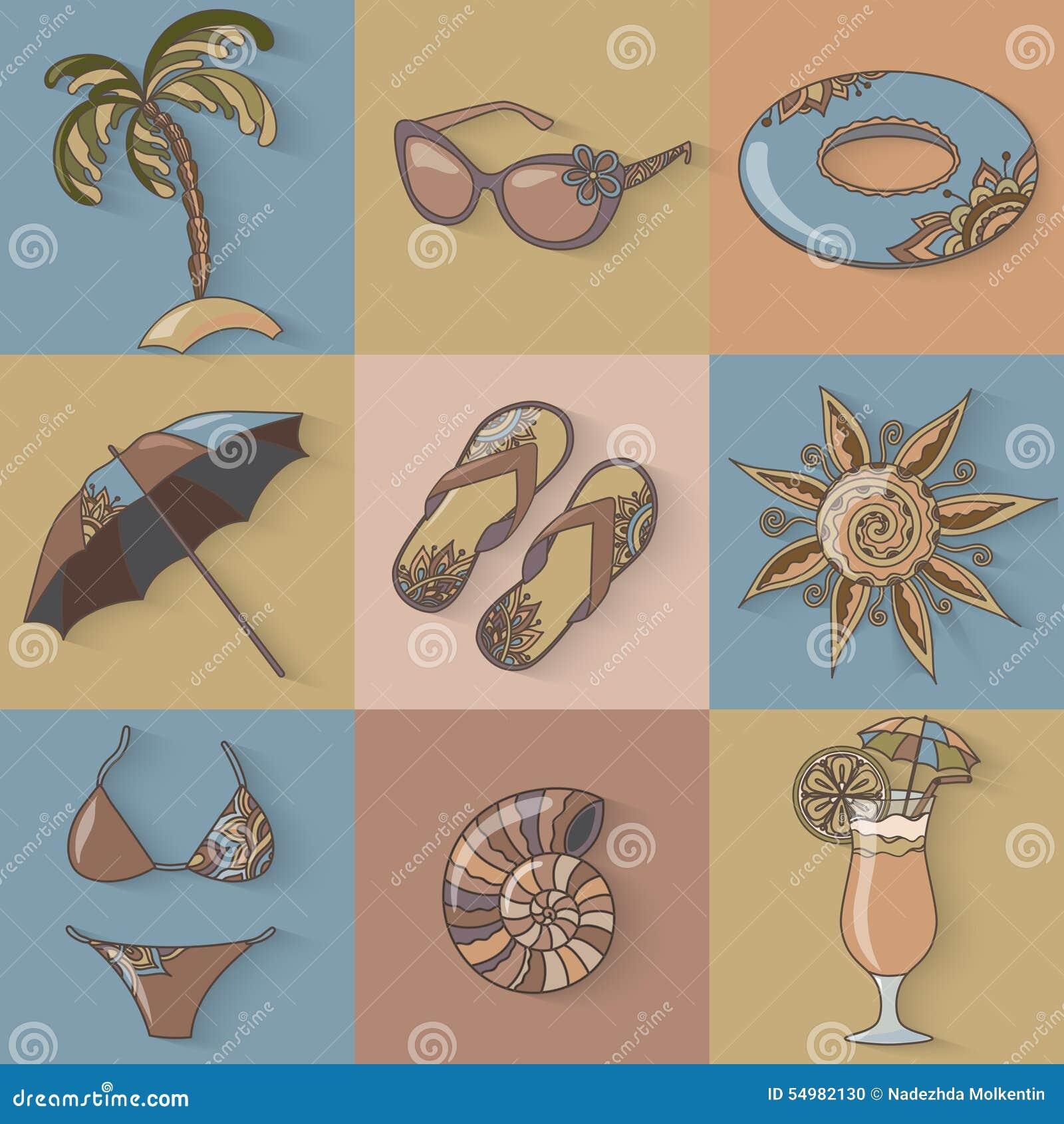 Uppsättning för symboler för strand för sjösida för sommarferier
