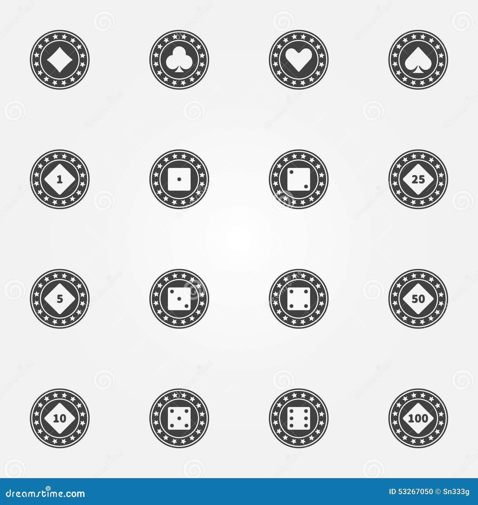 Uppsättning för symboler för svart för vektor för pokerchiper