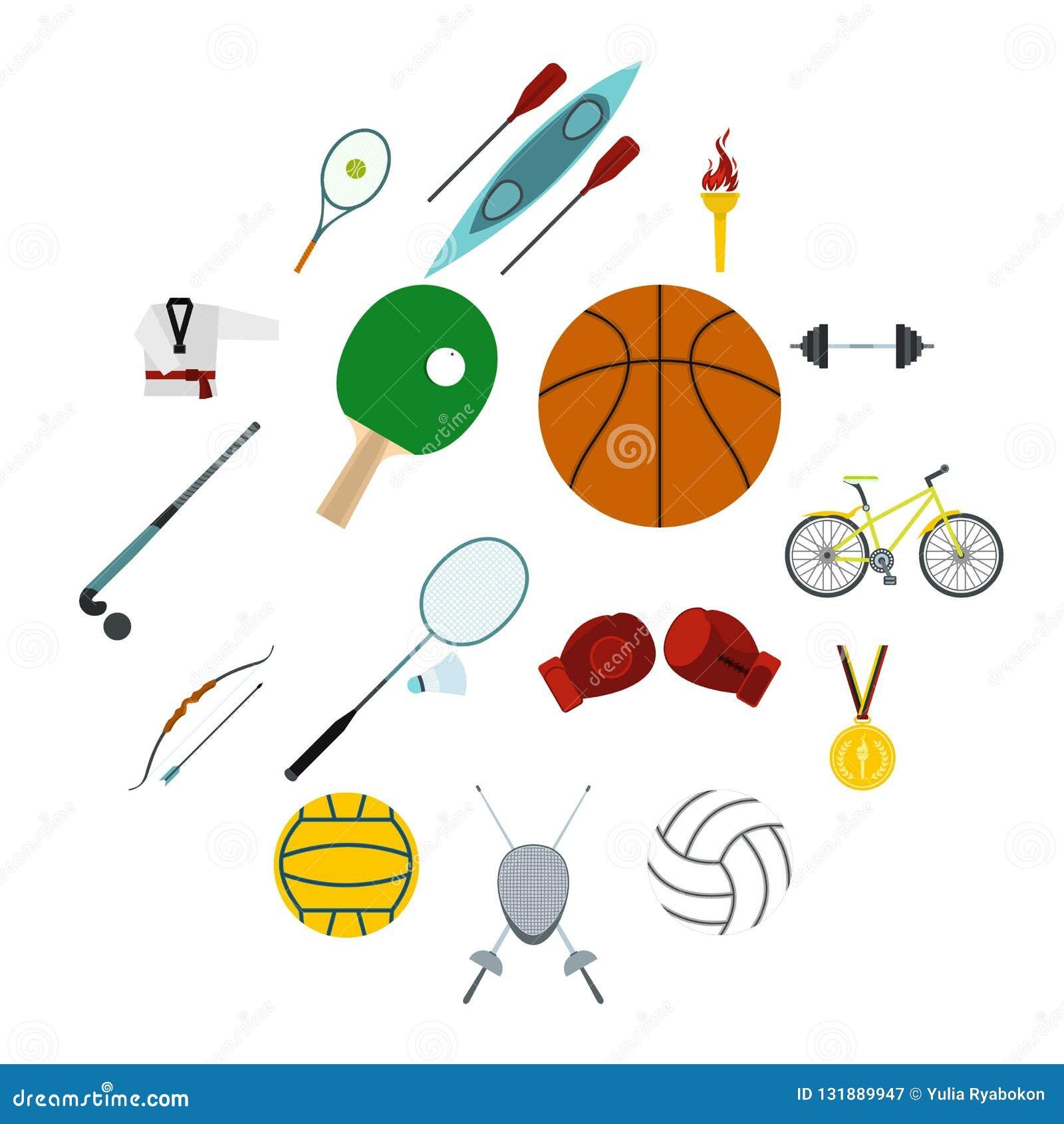 Uppsättning för symboler för sommarsportlägenhet