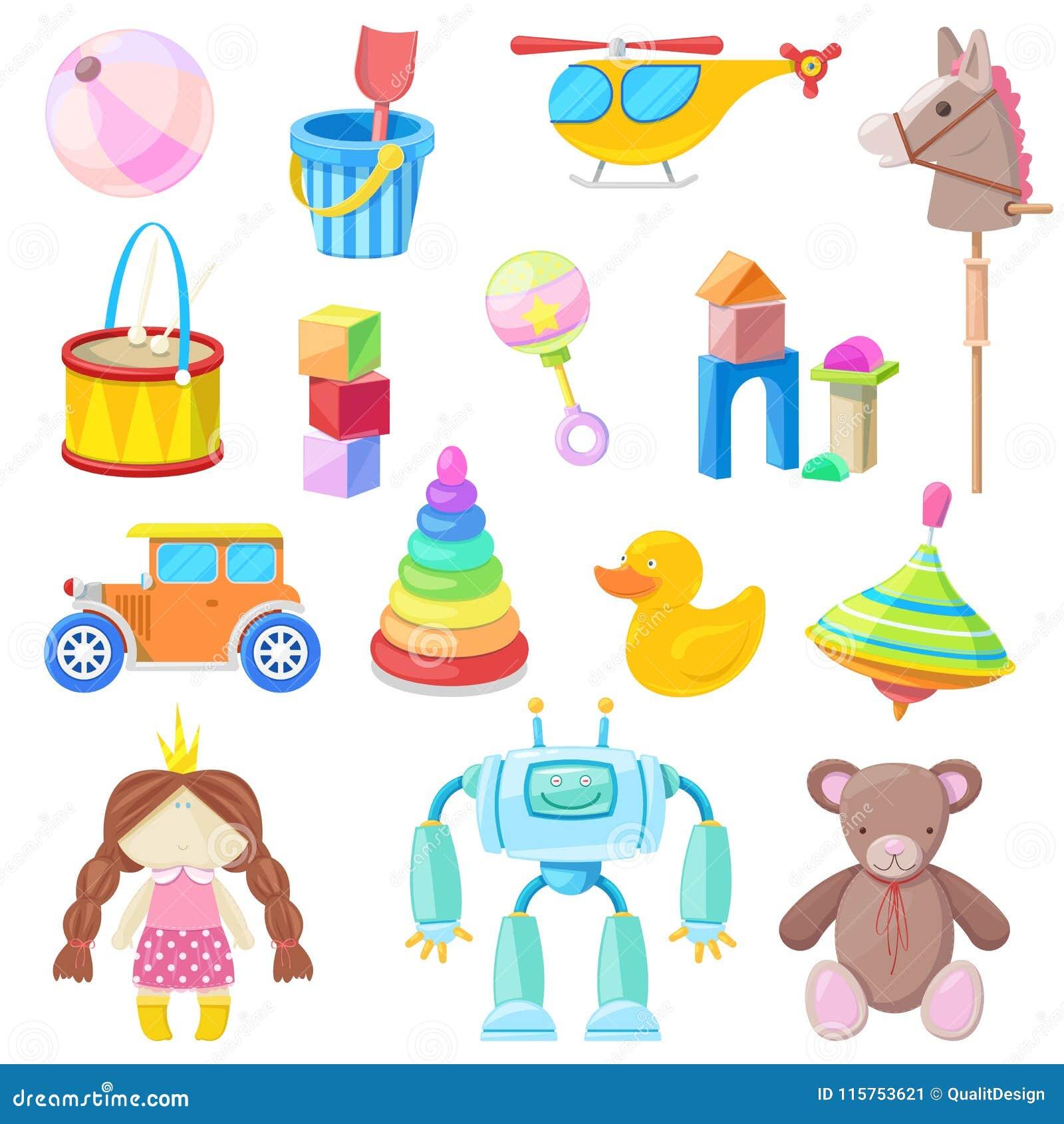 Uppsättning för symboler för ungeleksakvektor Färga leksaken för behandla som ett barn pojken och flickan, tecknad filmillustrati