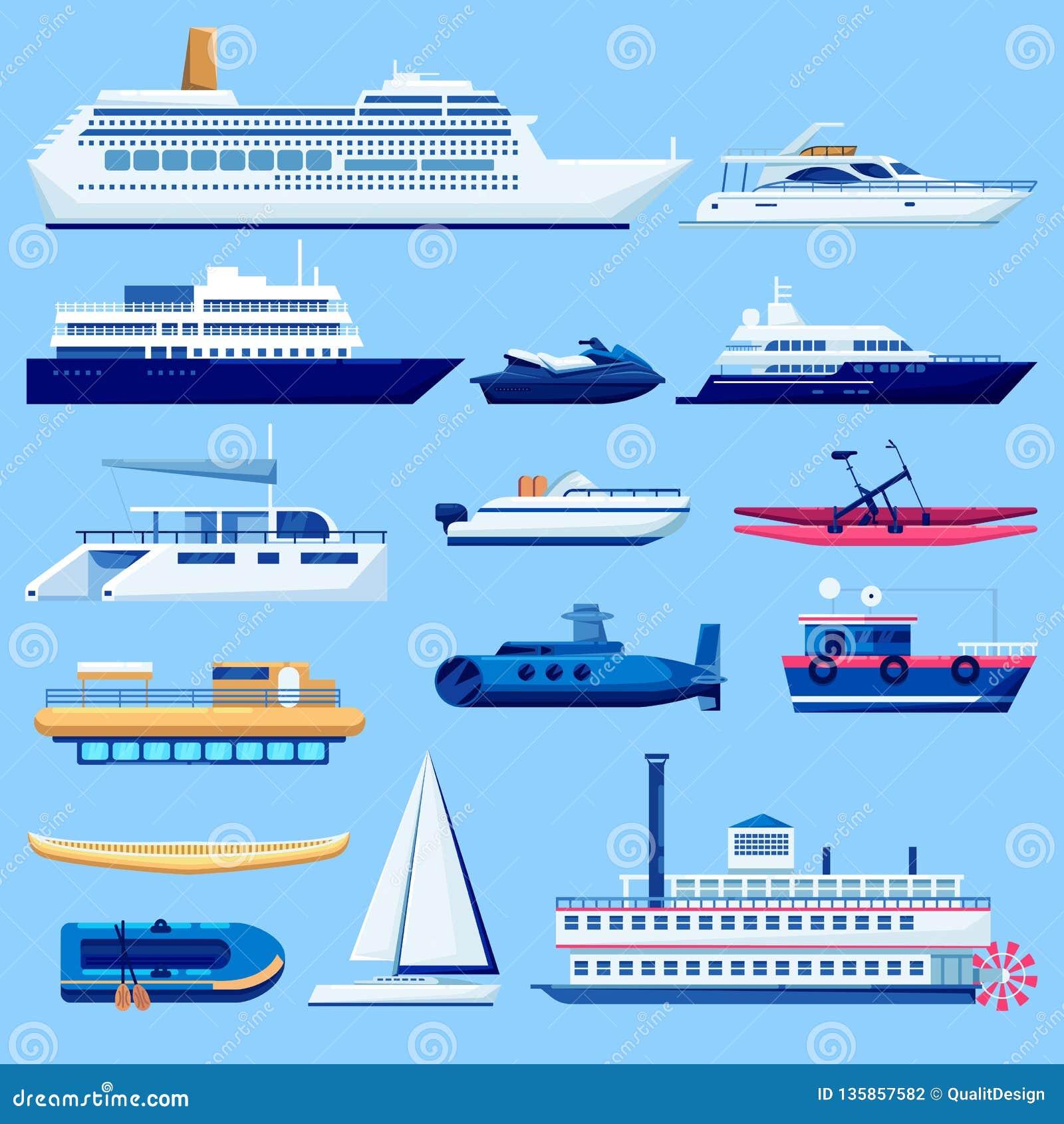 Uppsättning för symboler för vattenskytteltransport Plan medelillustration för vektor Segla fartyg, kryssningskeppet, yacht på bl