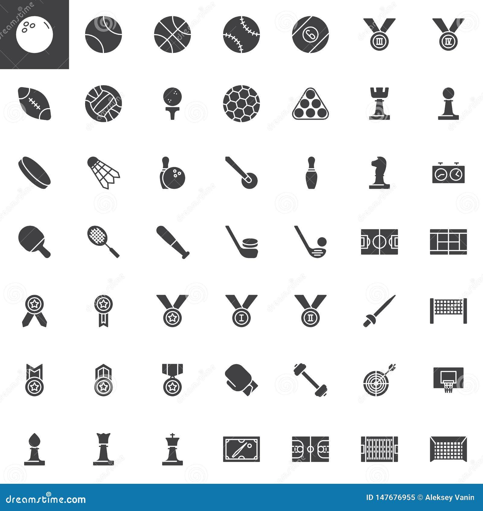 Uppsättning för symboler för vektor för sportutrustning
