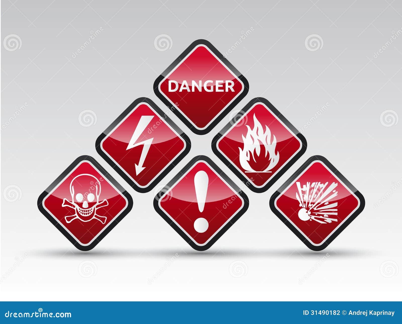 Uppsättning för tecken för varning för runt hörn för fara