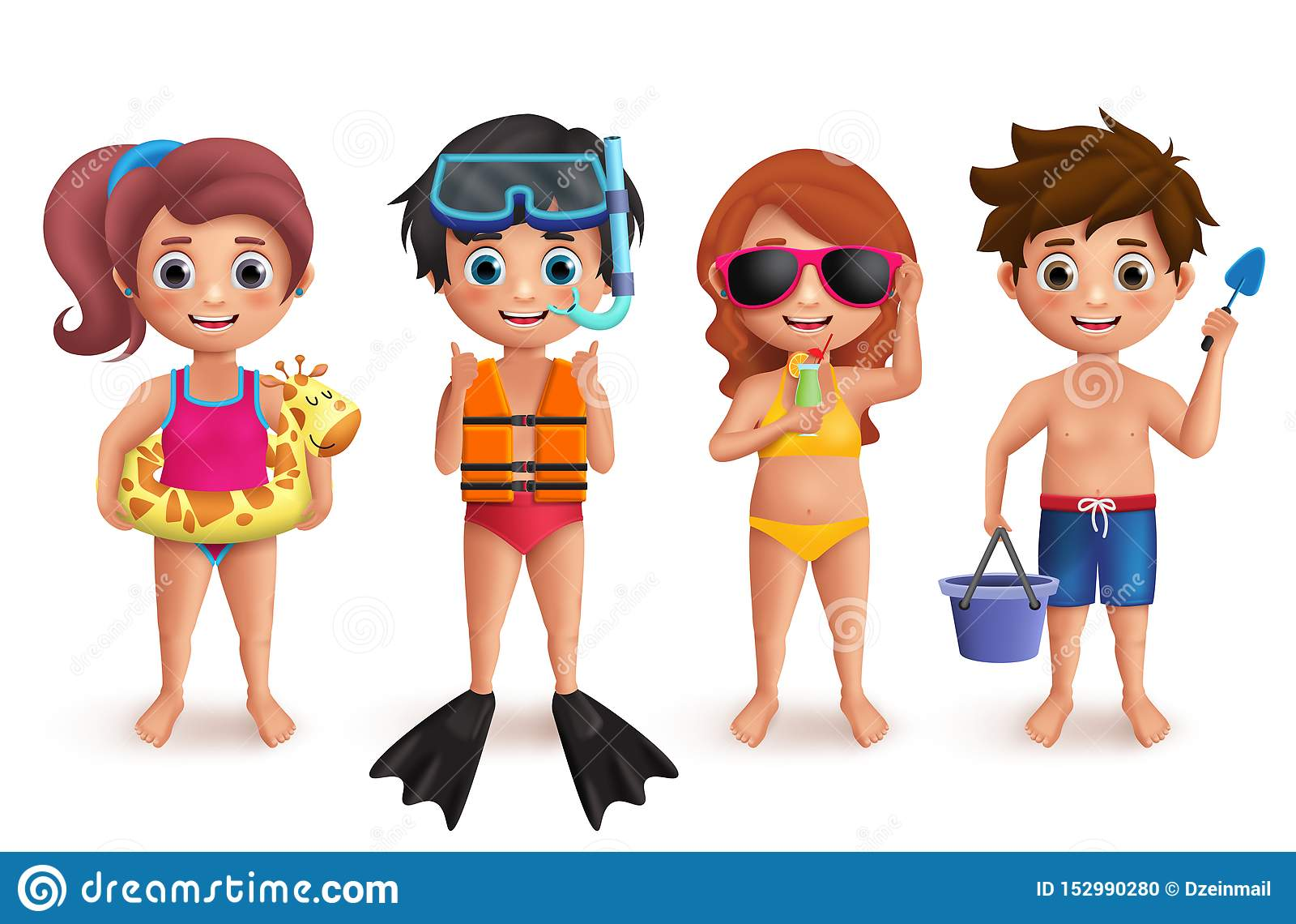 Uppsättning för tecken för sommarungevektor Pojkar och flickor som spelar i stranden som gör utomhus- aktiviteter