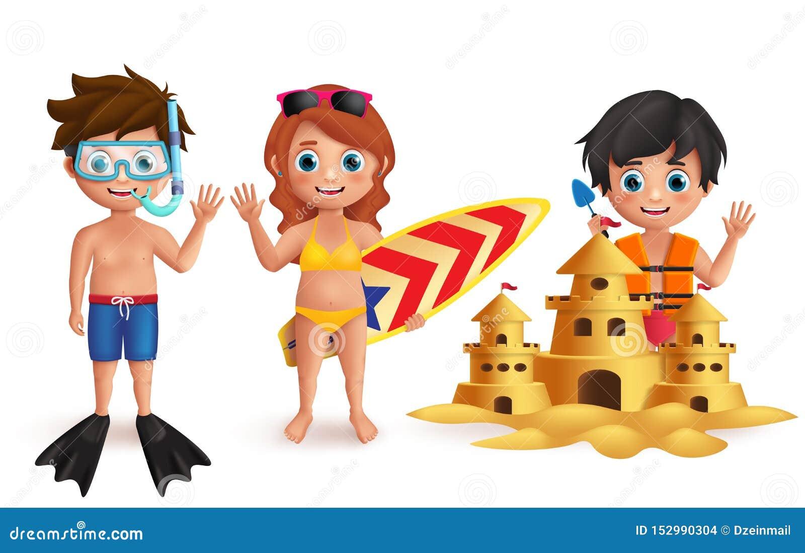 Uppsättning för tecken för strandungevektor Unga pojkar och flicka som spelar sandslotten och gör strandaktiviteter