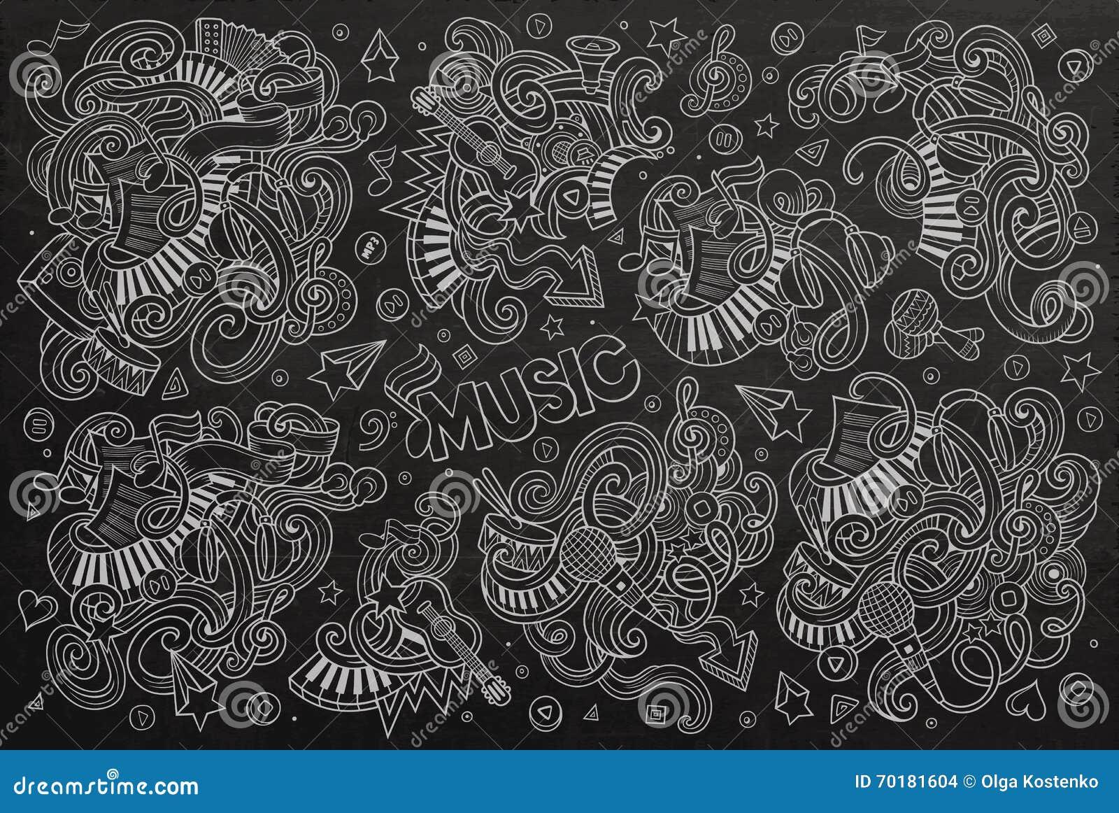 Uppsättning för tecknad film för klotter för svart tavlavektor hand dragen av musikobjekt