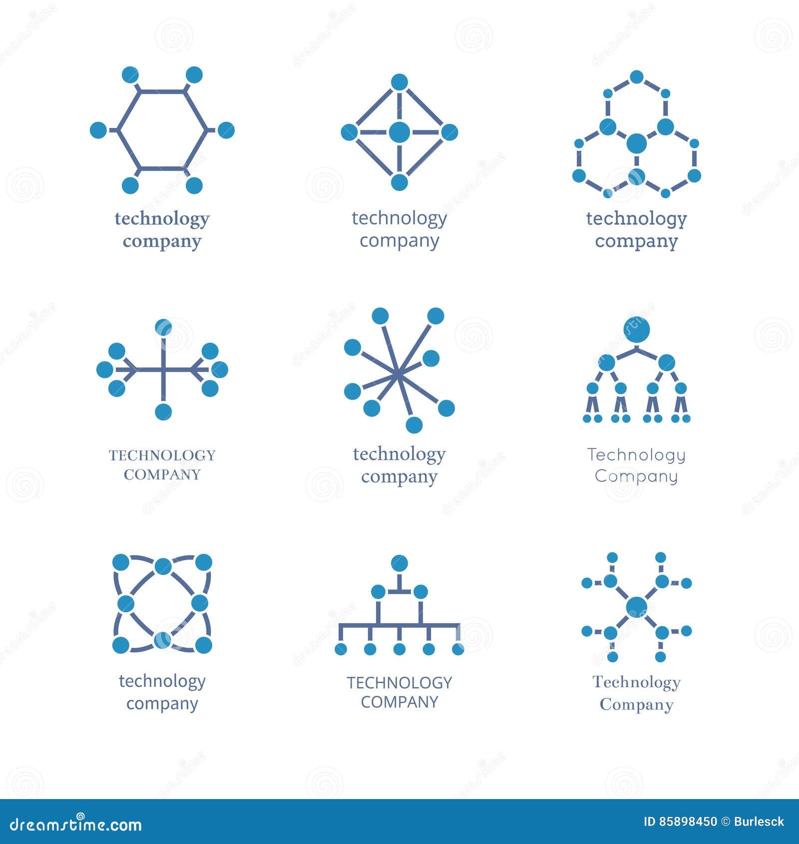 Uppsättning för teknologiföretagslogo För informationsnätverk om vektor teknologiska symboler