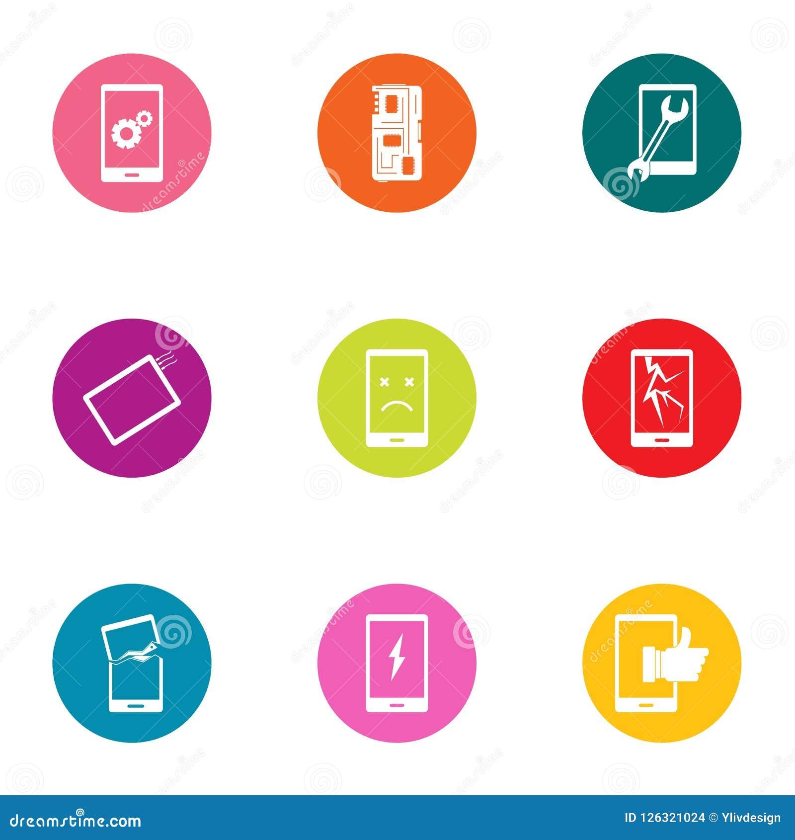 Uppsättning för telefonkommerssymboler, lägenhetstil