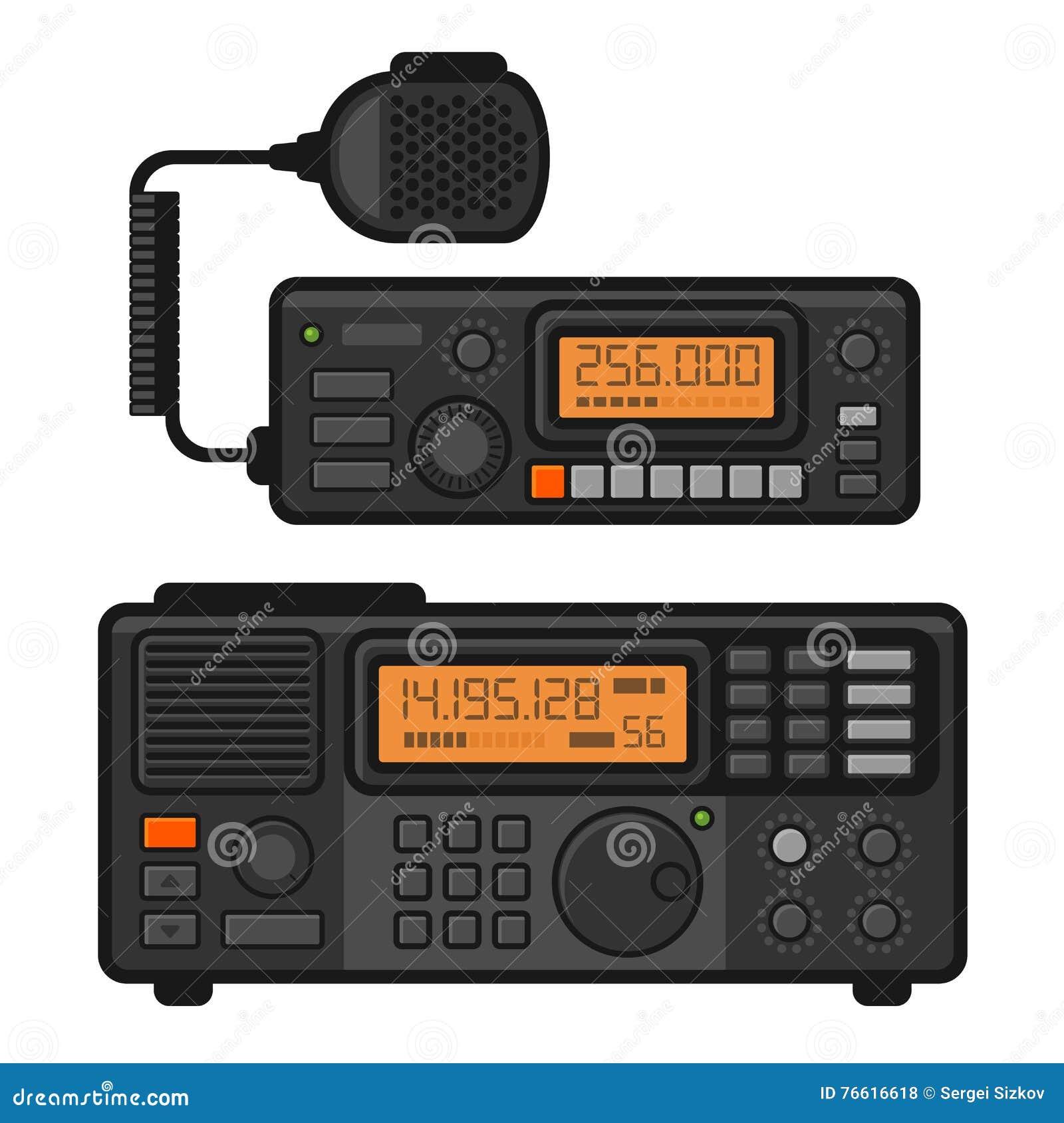 Uppsättning för Transceiver för polisbilradio vektor