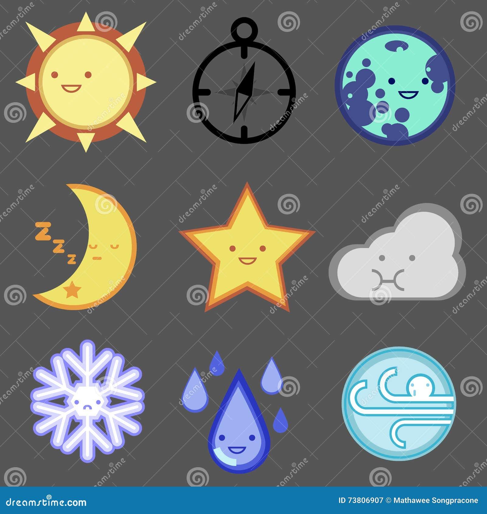 Uppsättning för väderprognossymbol för rengöringsdukdesign, mobil, internet, app