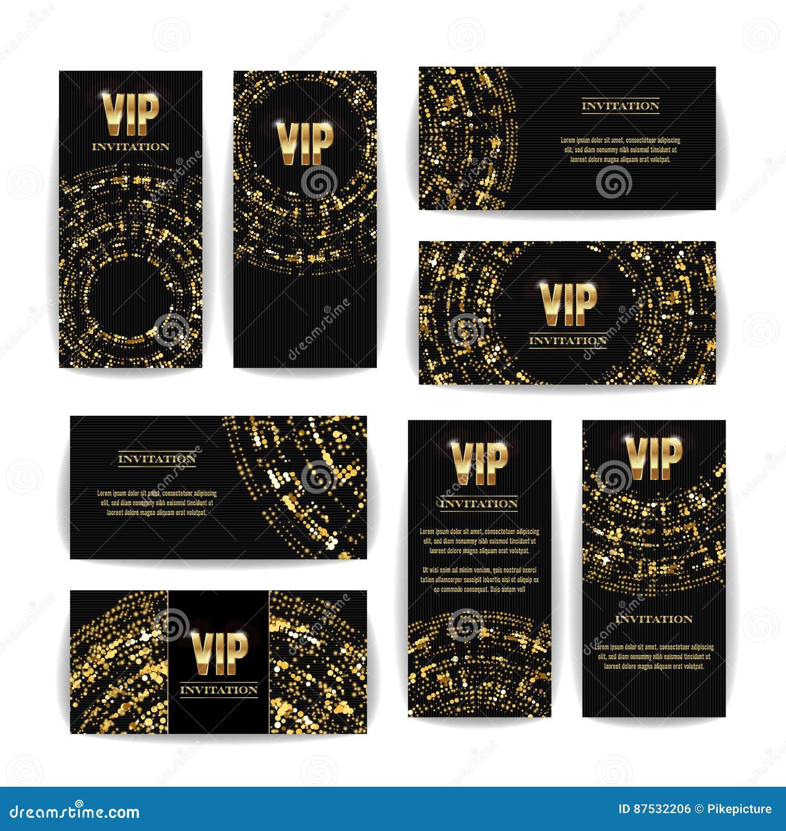 Uppsättning för vektor för storgubbeinbjudankort Högvärdig tom affischreklamblad för parti Svart guld- designmall dekorativ vekto