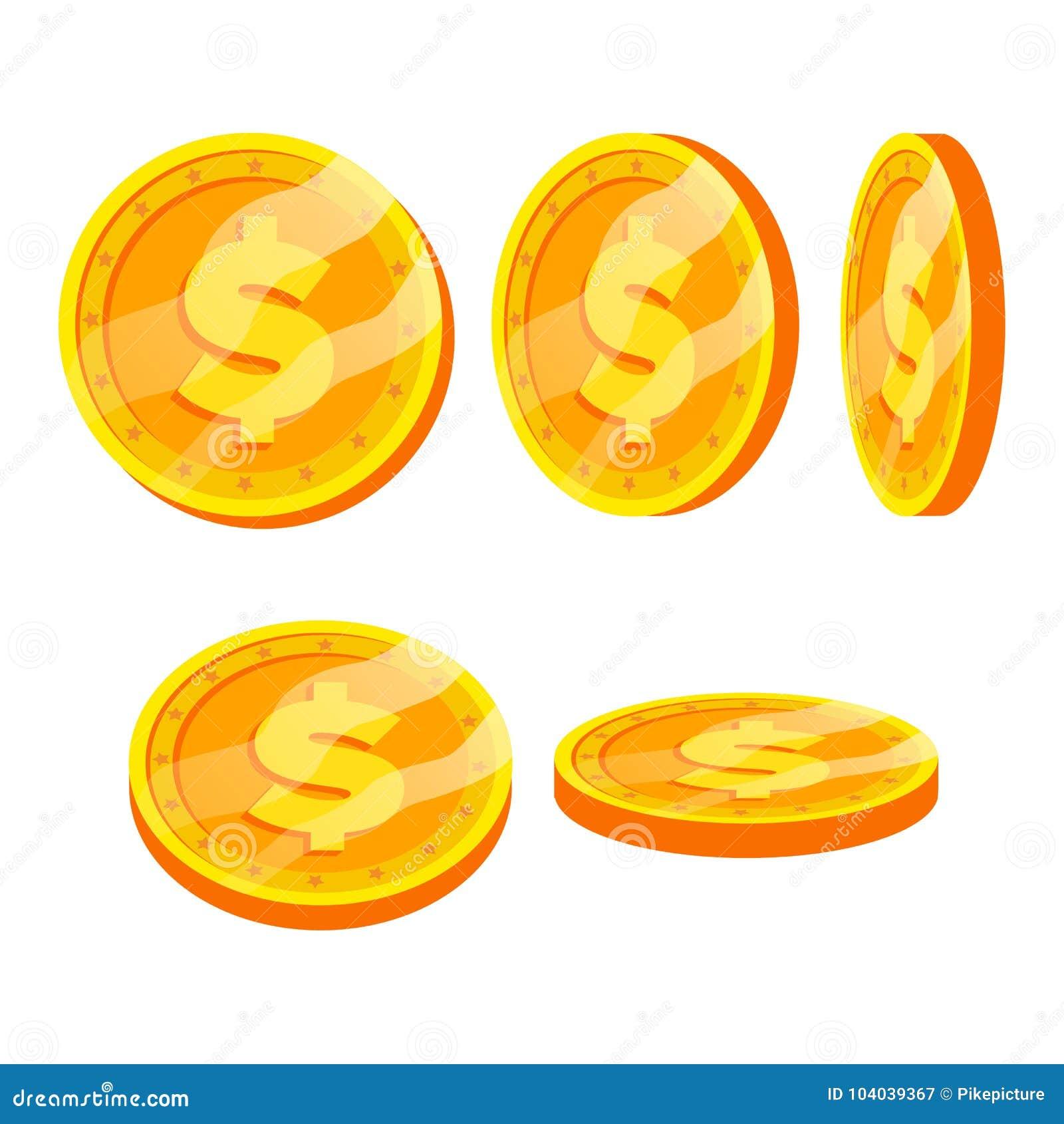 Uppsättning för vektor för tecken för guld- mynt för dollar Lägenhet tecknad film Flip Different Angles Valutapengar Investeringb