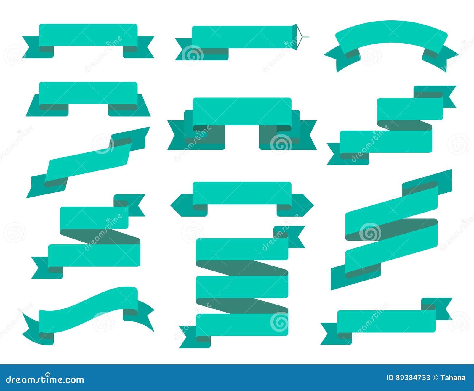 Uppsättning för vektorbandlägenhet Samling av olika bandbaner Tappning utformad band och emblemmall dekorativt