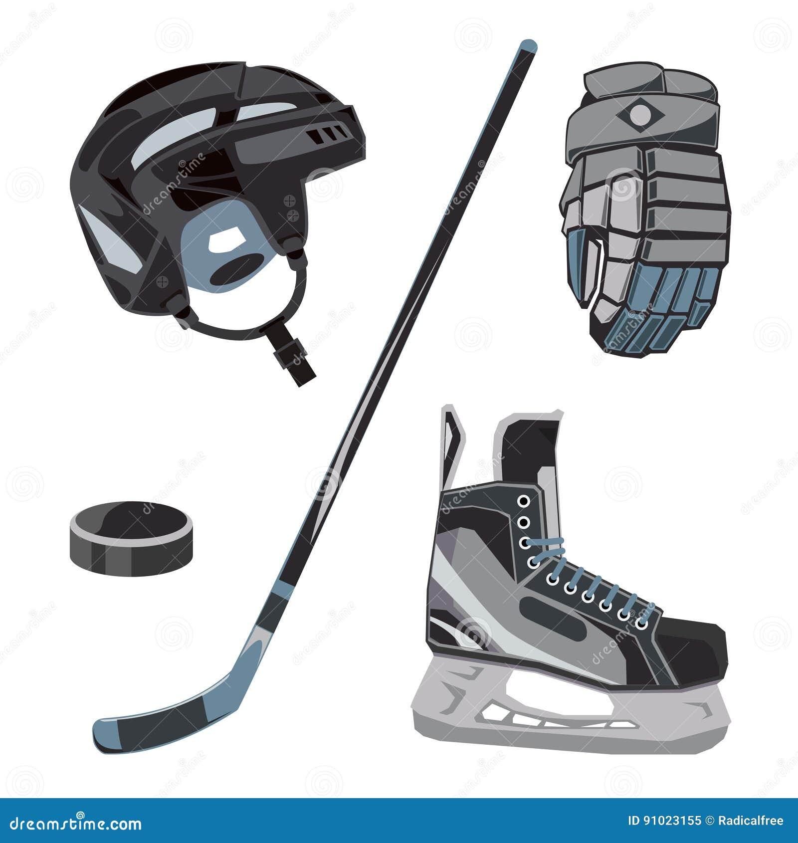 Uppsättning för vektorhockeysymboler i plan stil Isutrustningsamling, puck, pinne etc. Sportkugghjulbilder för klubbor etc.
