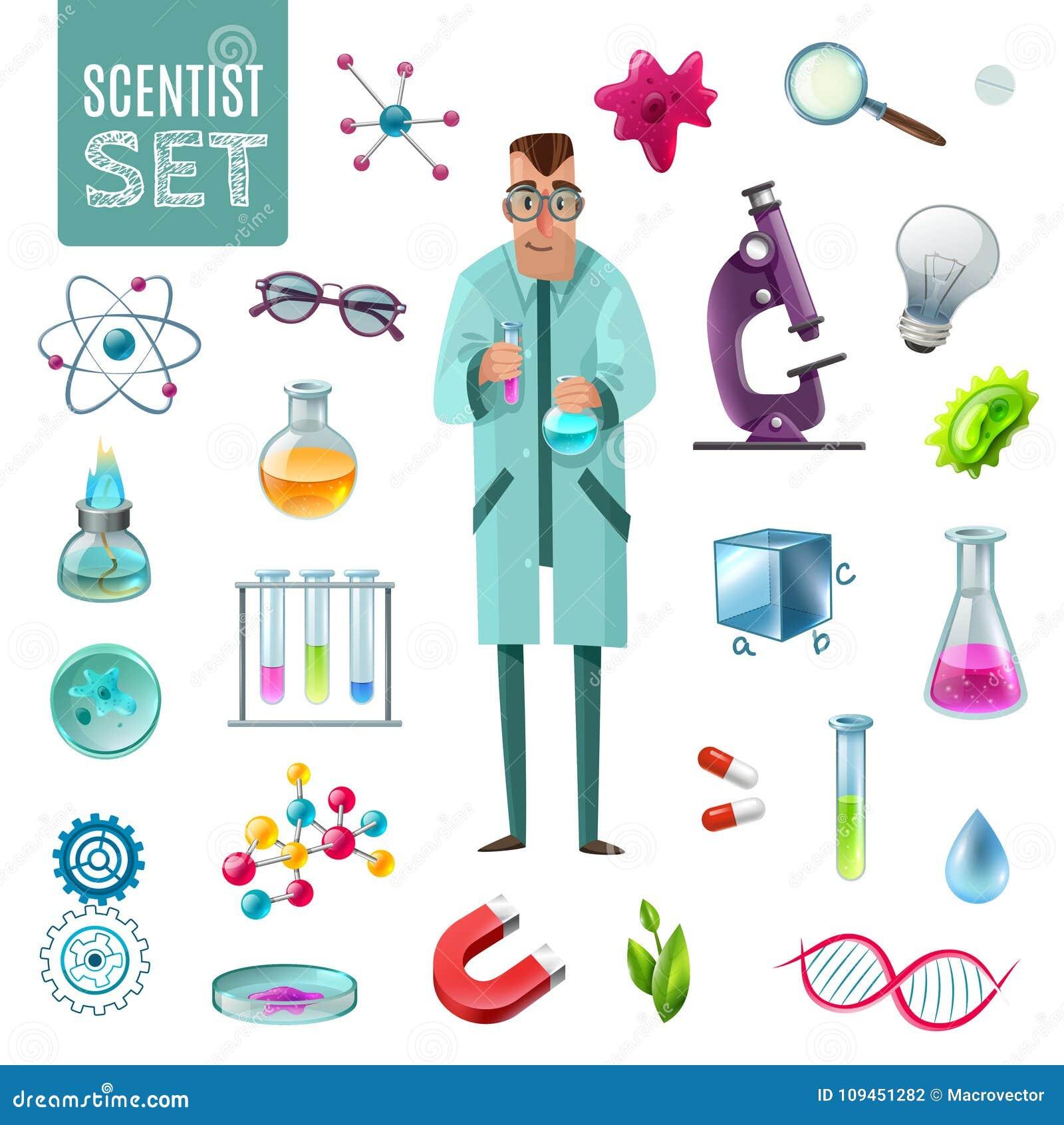 Uppsättning för vetenskapssymbolstecknad film